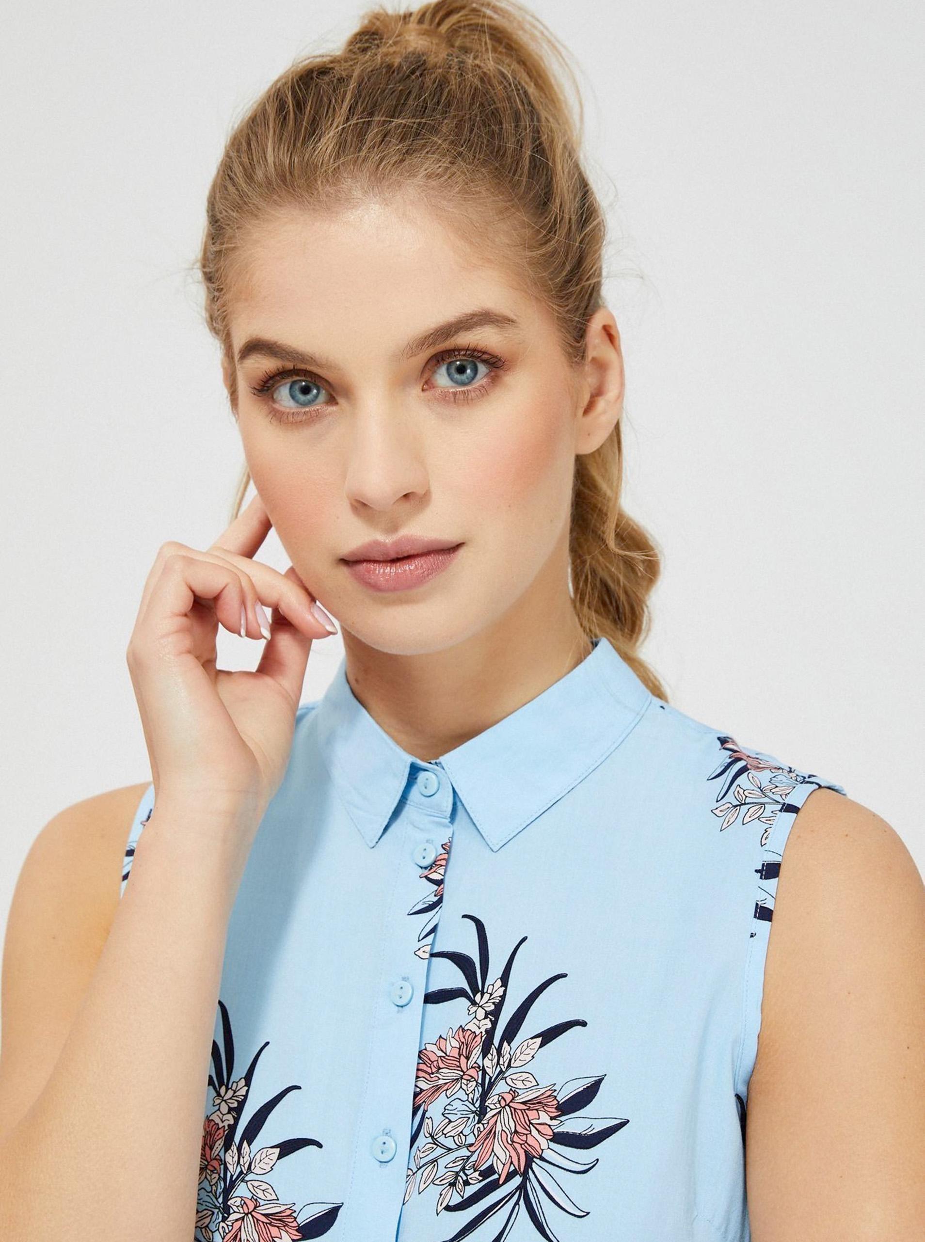 Moodo синя блуза с флорален мотив