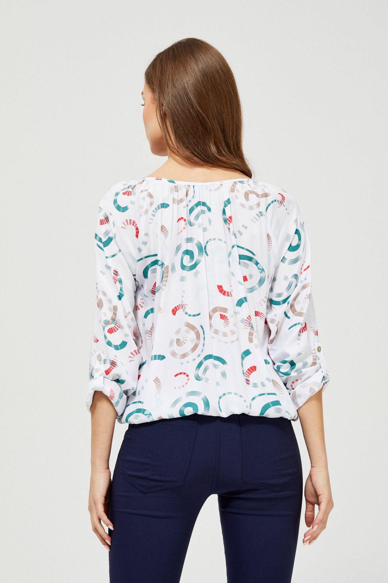 Moodo бяла блуза с шарка