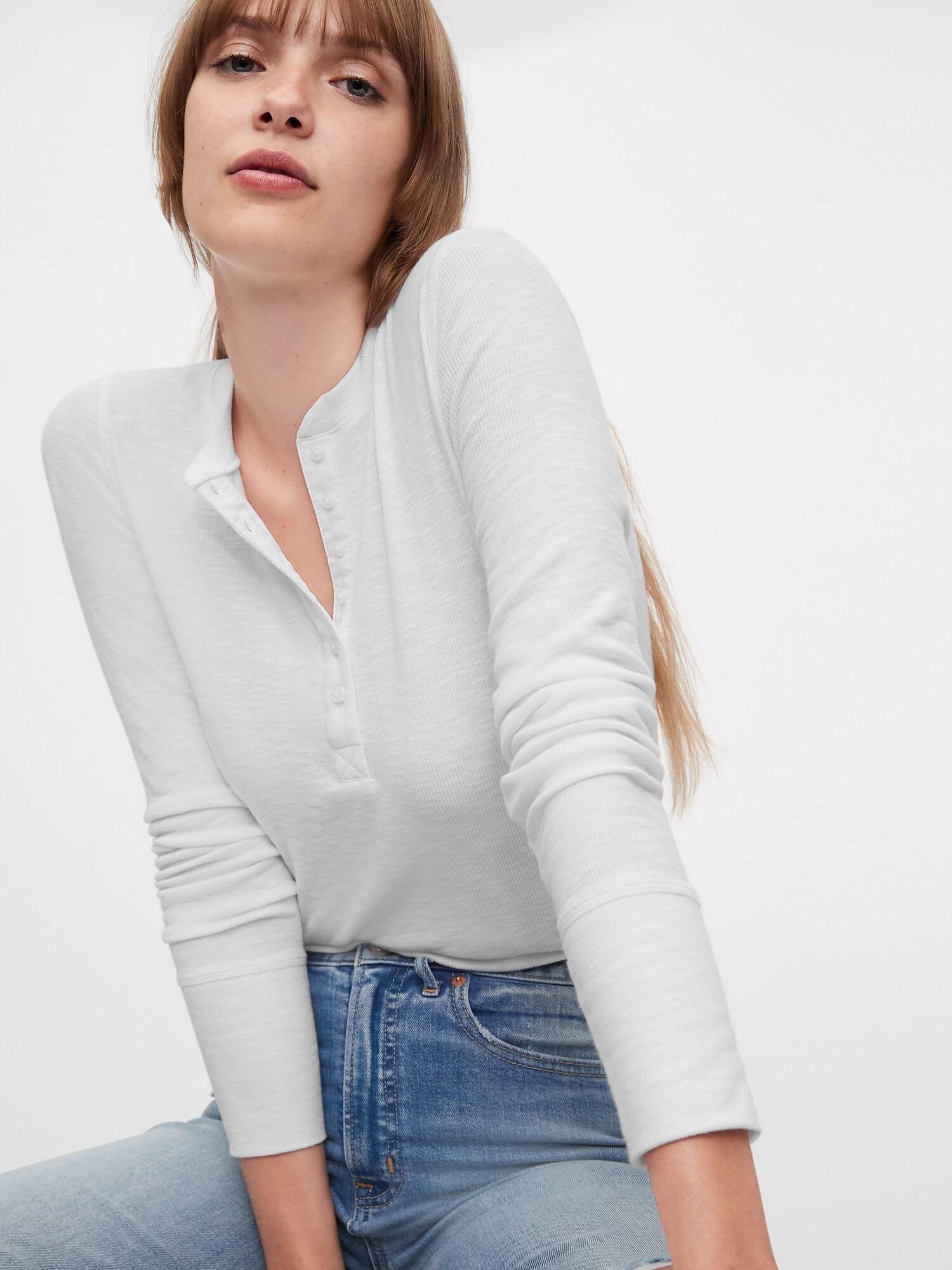 GAP Дамска тениска бял  Ribbed