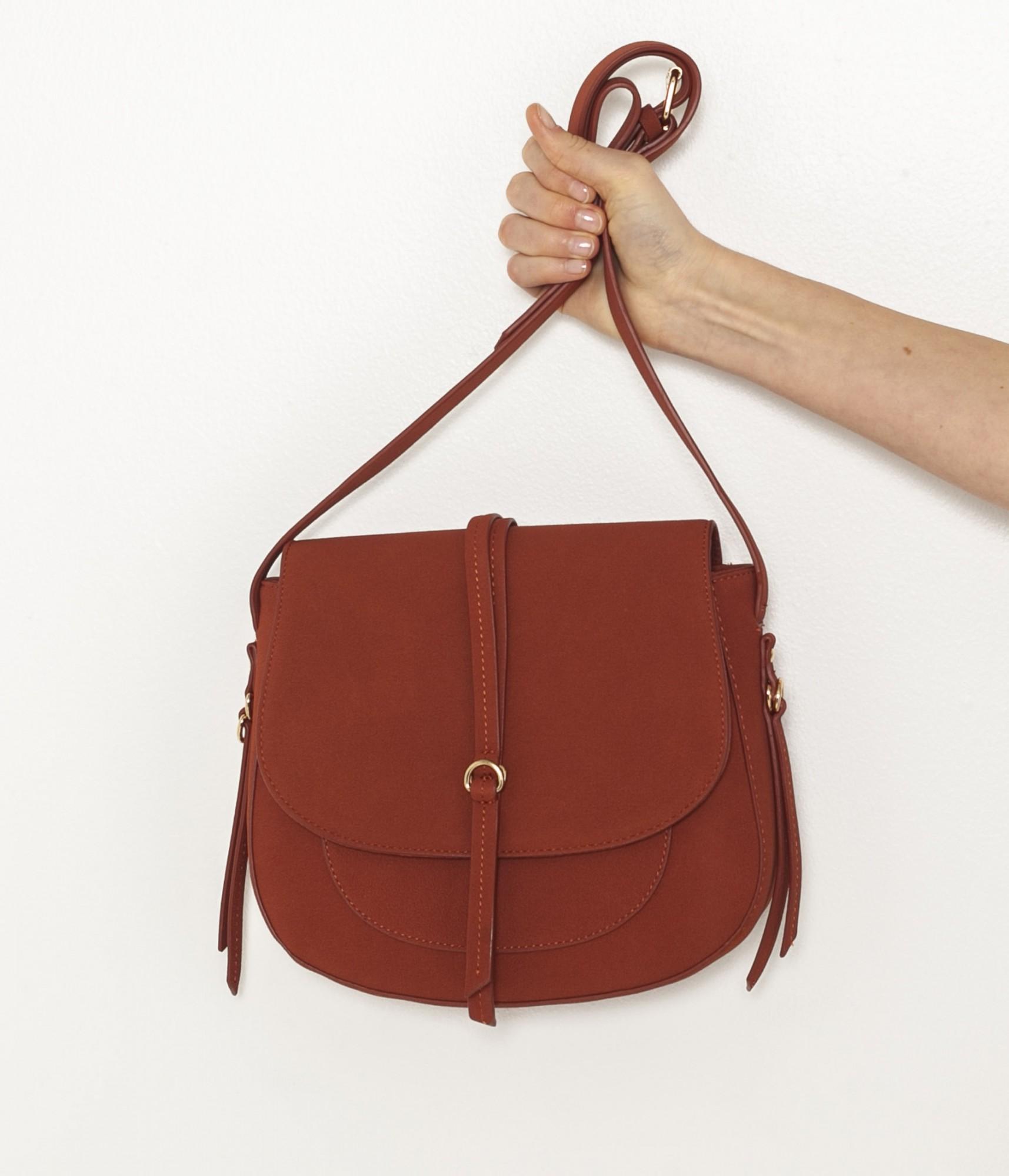 Кафява чанта с кръстосано тяло в велурено покритие CAMAIEU