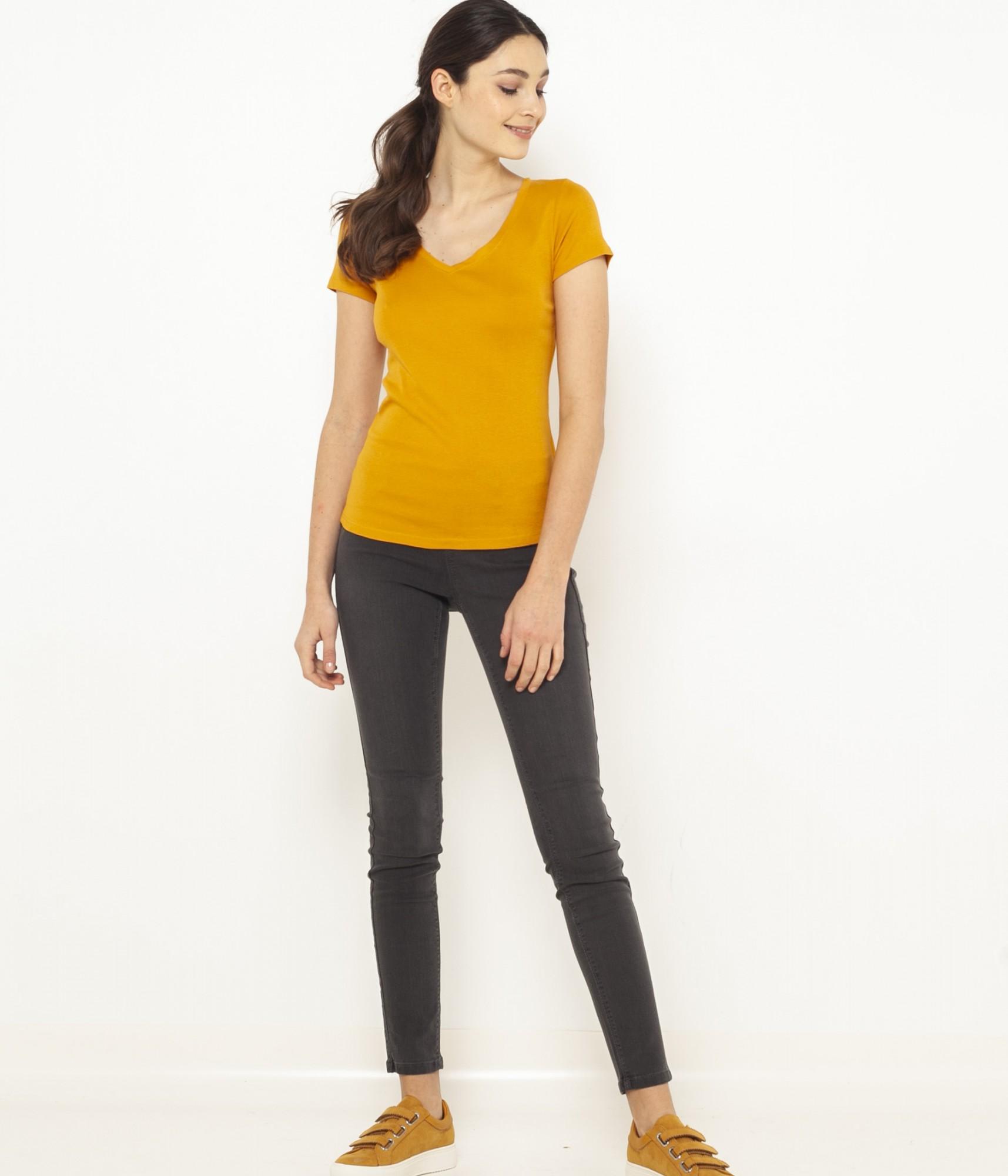 CAMAIEU Дамска тениска цвят горчица