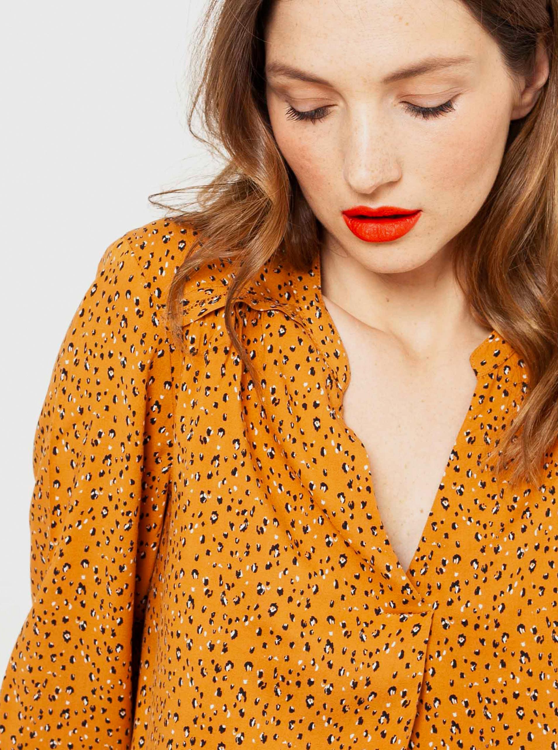 CAMAIEU горчица женски блуза с шарка