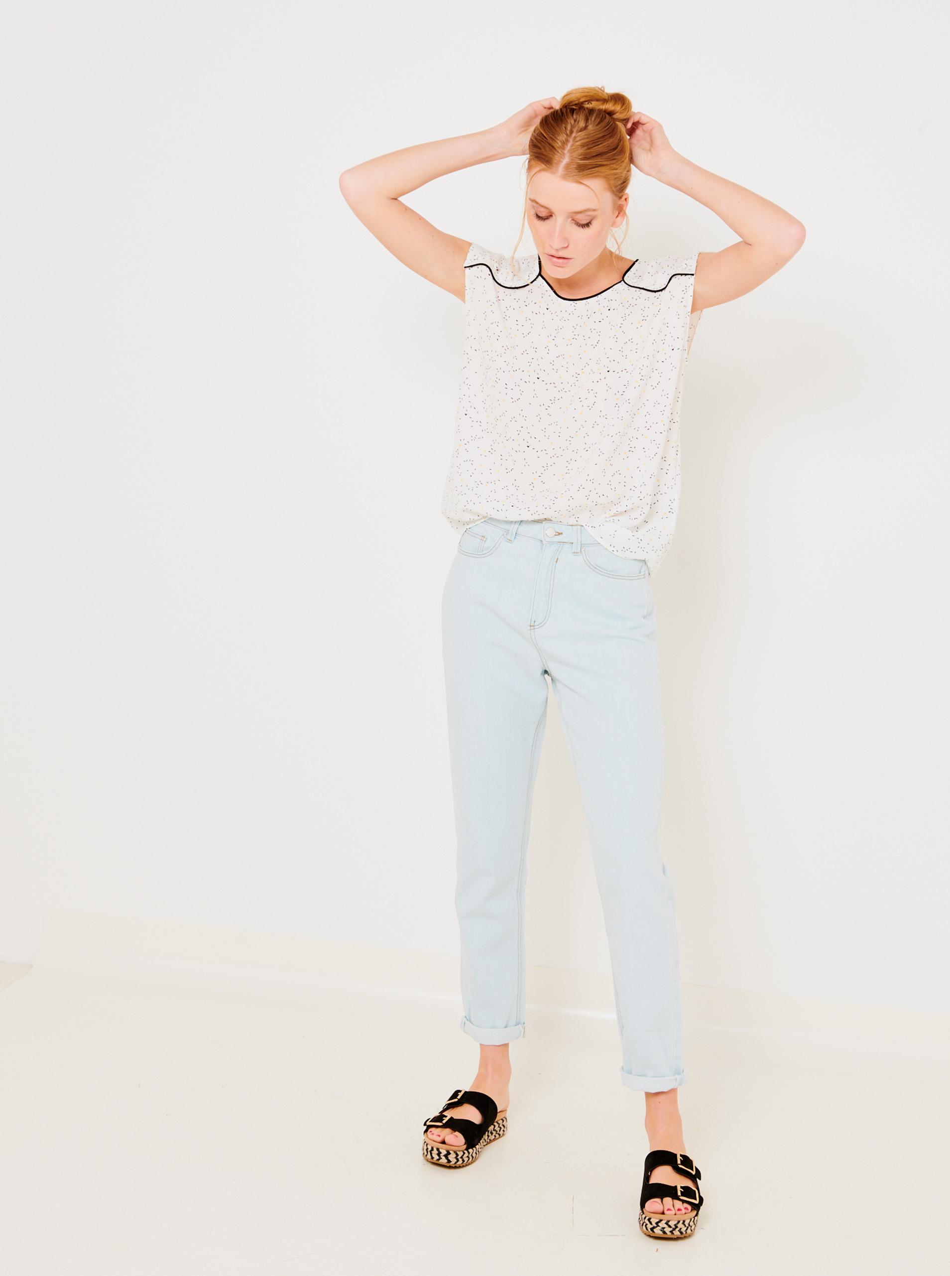 CAMAIEU бяла блуза с шарка