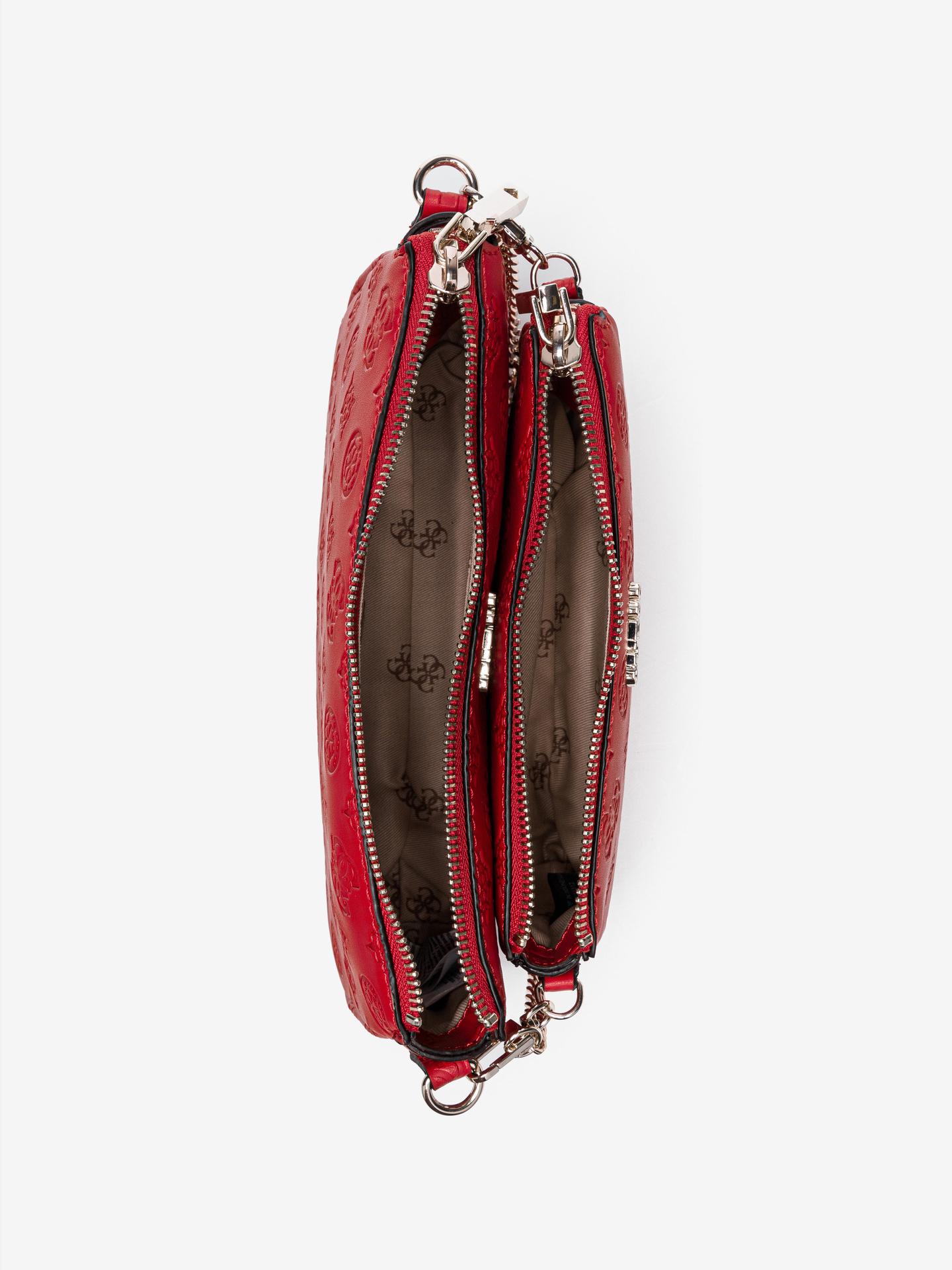 Guess червена 2в1 crossbody дамска чанта Dayane Double