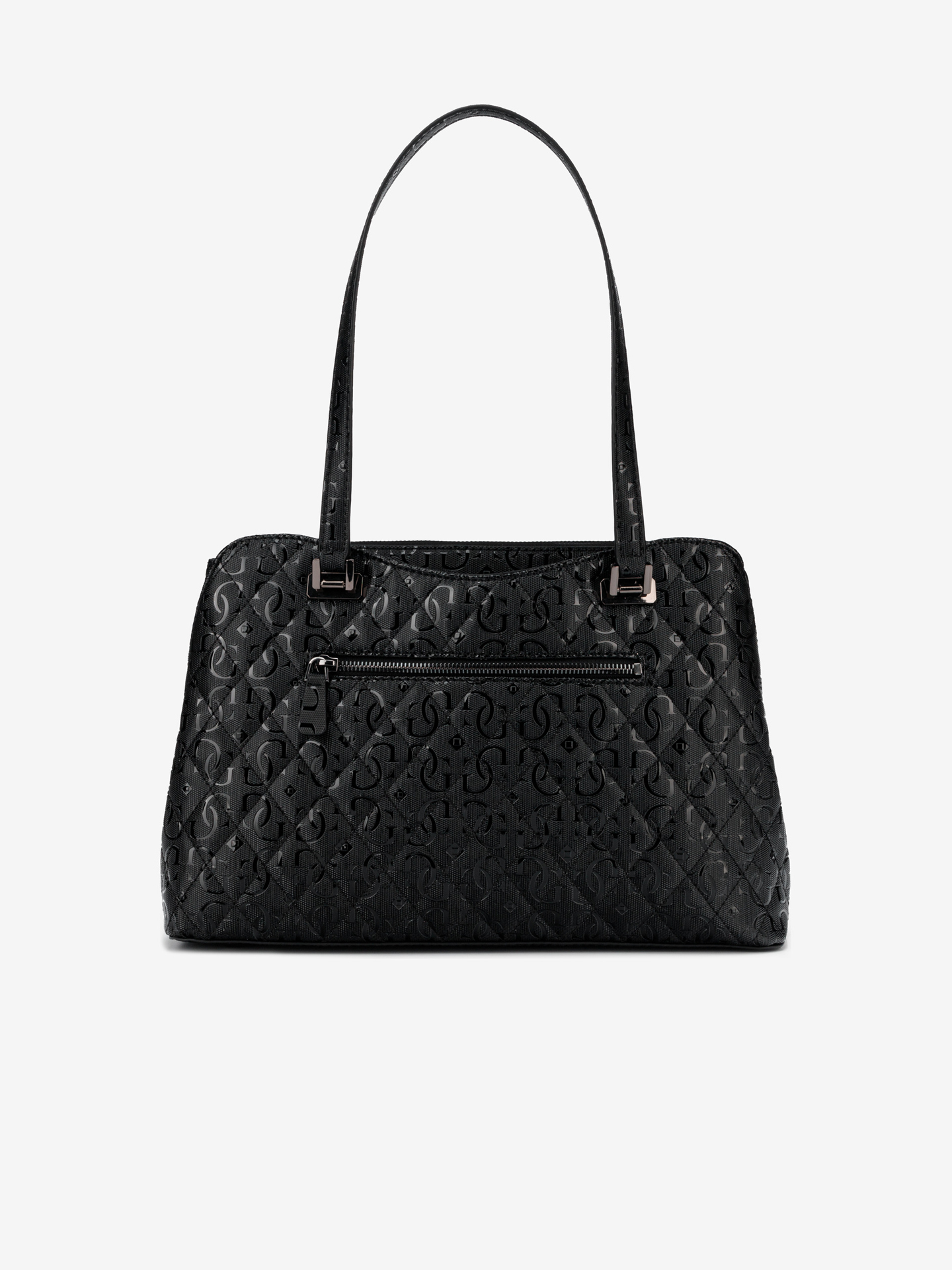 Guess черна дамска чанта Lola Glossy Logo Maxi