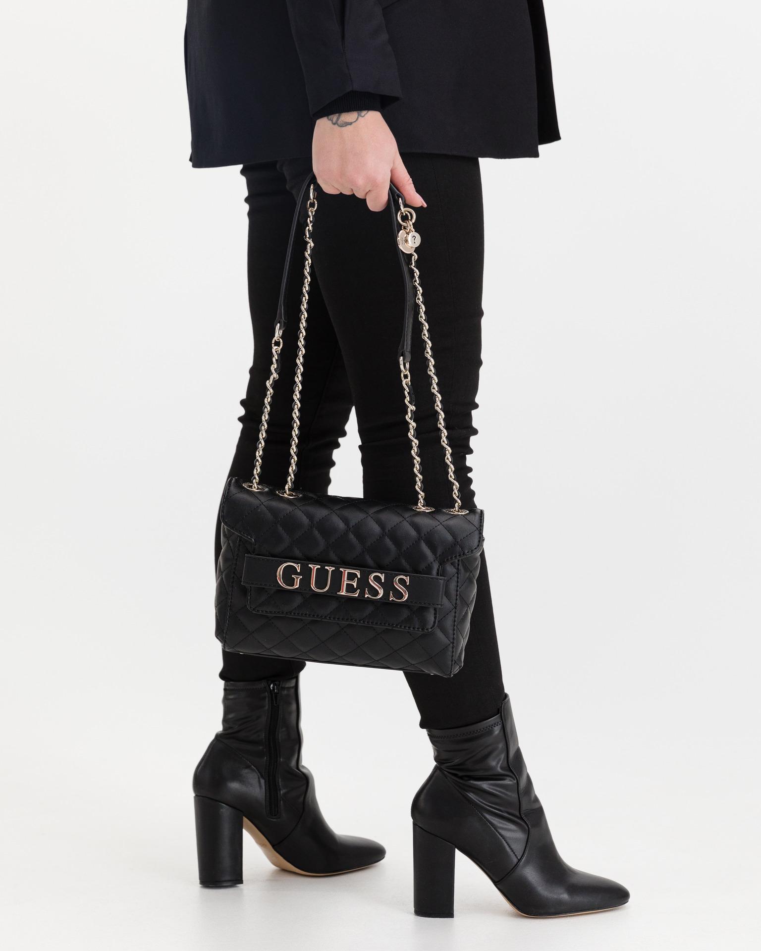 Guess черна crossbody дамска чанта Illy Convertibe