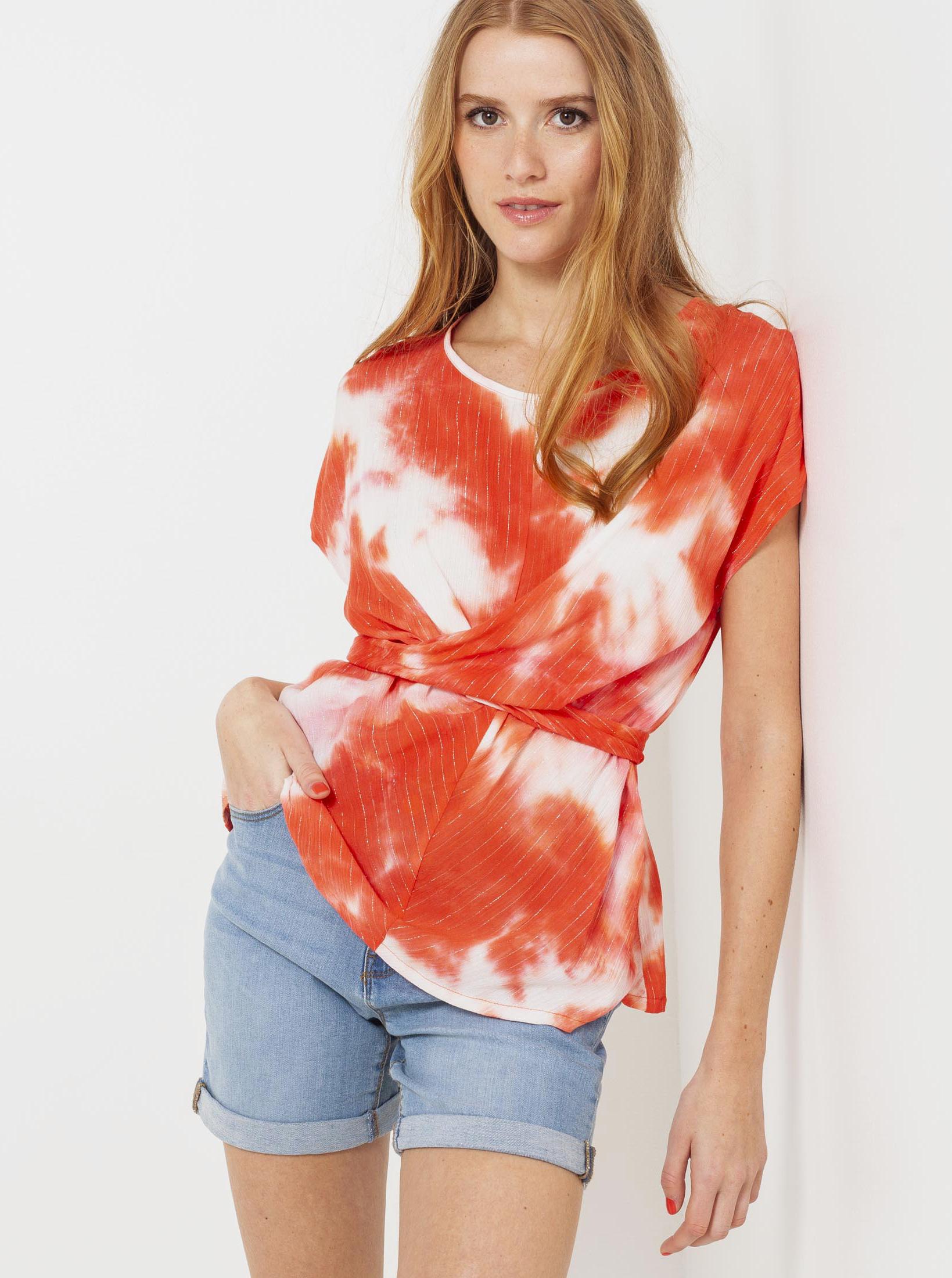 CAMAIEU червена блуза