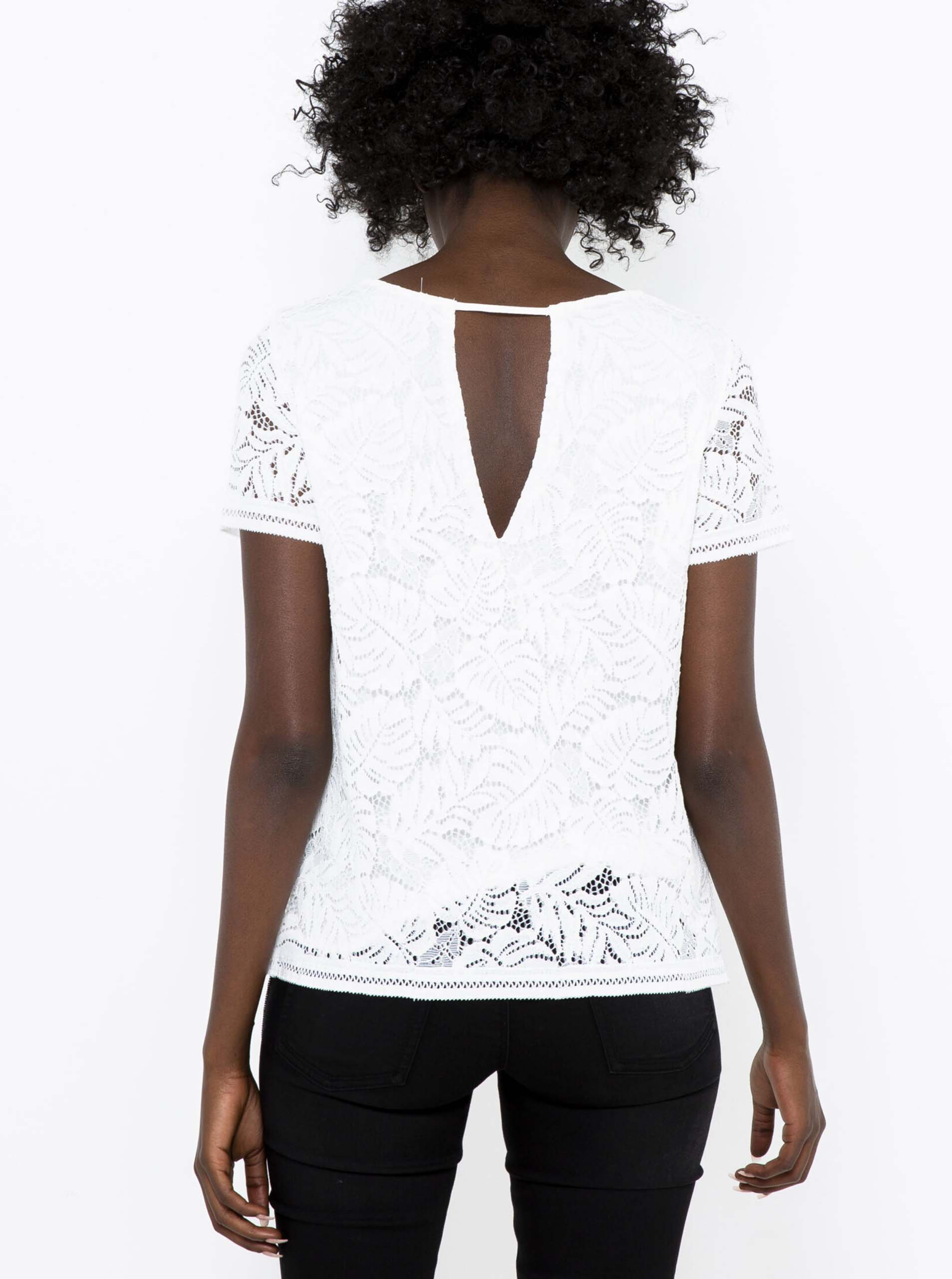 CAMAIEU бяла блуза с дантела