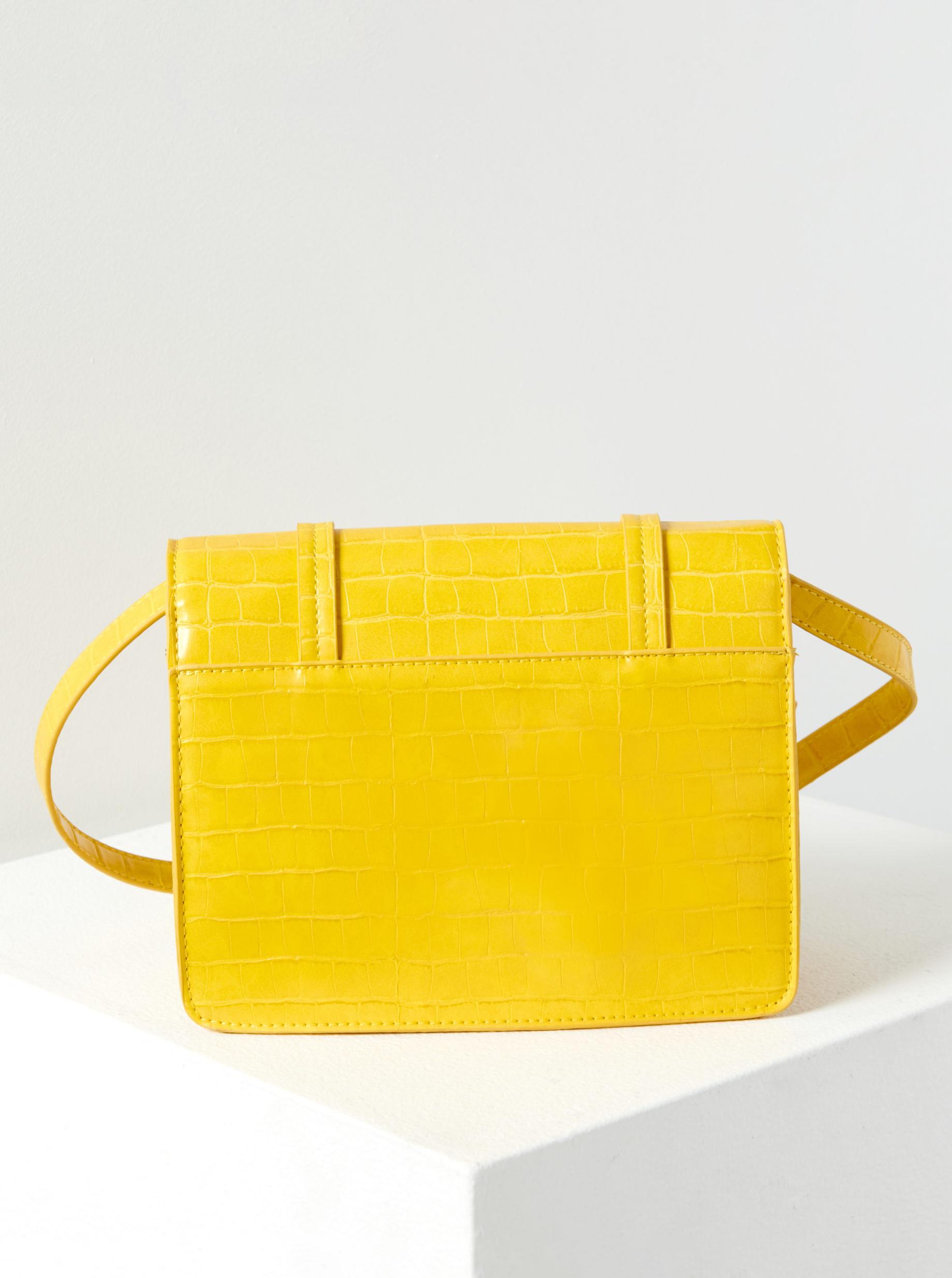 Жълта дамска чанта с кръстосан модел с крокодилски модел CAMAIEU