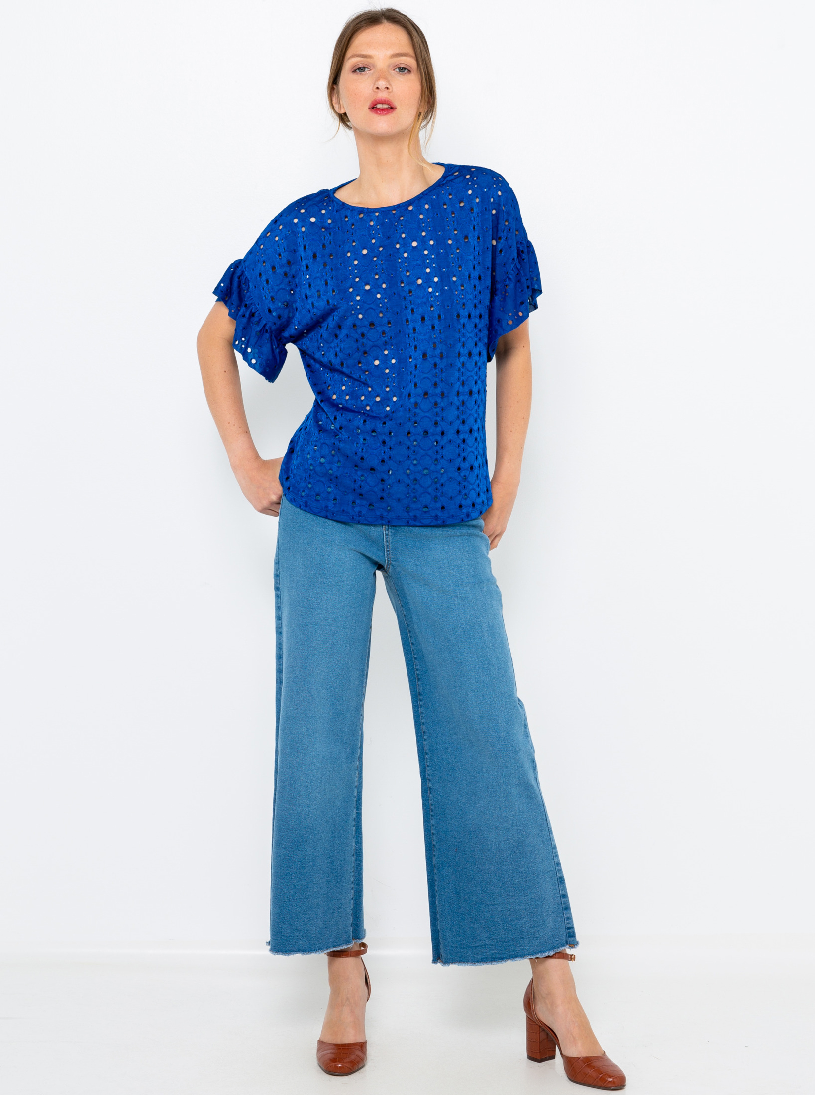 CAMAIEU синя блуза с тип дантела