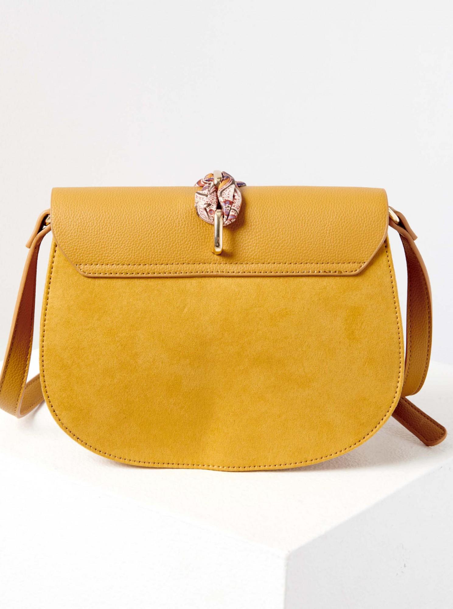 Жълта чанта през рамо с шал CAMAIEU