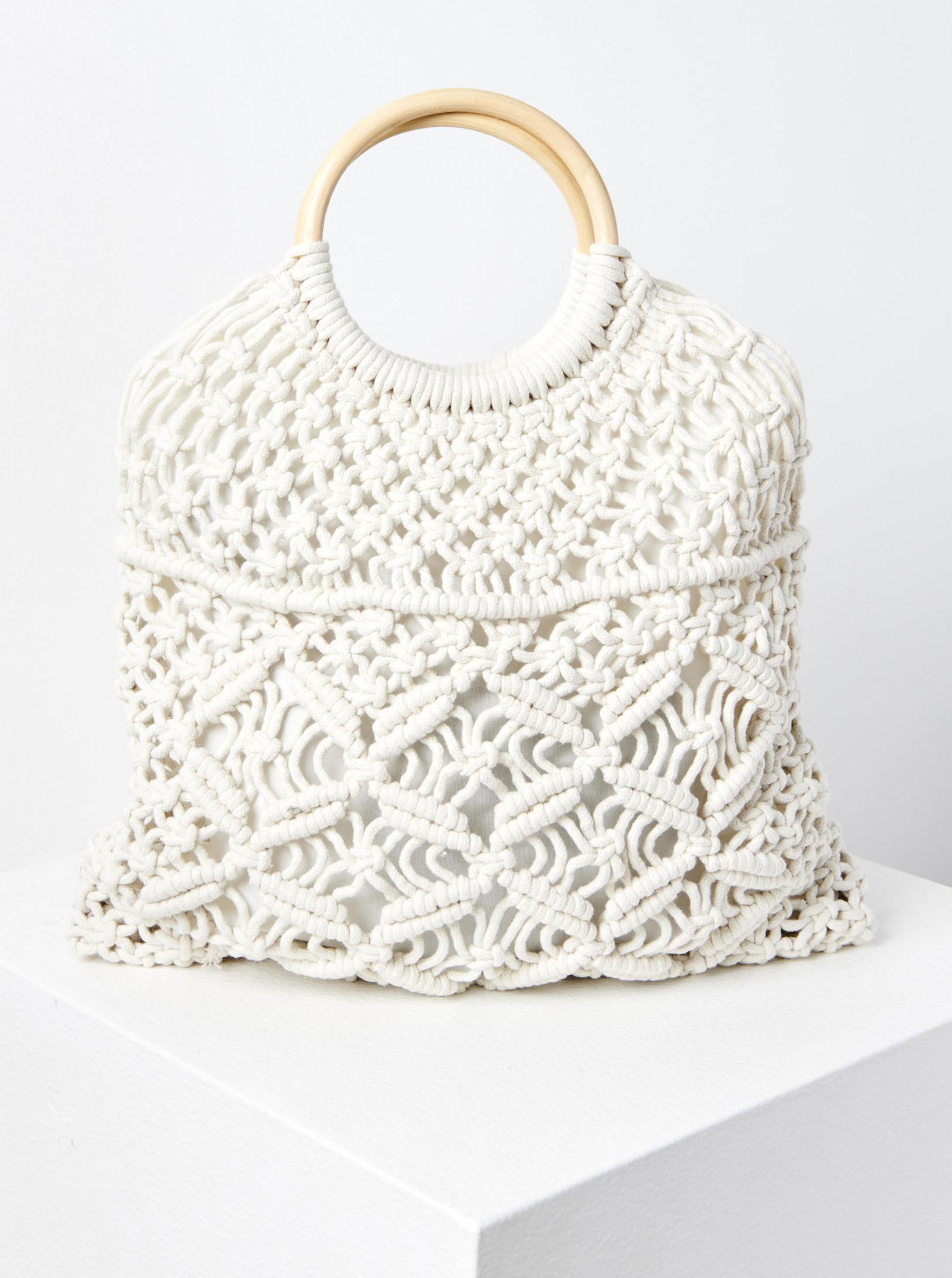 Бяла чанта за плетене на една кука CAMAIEU
