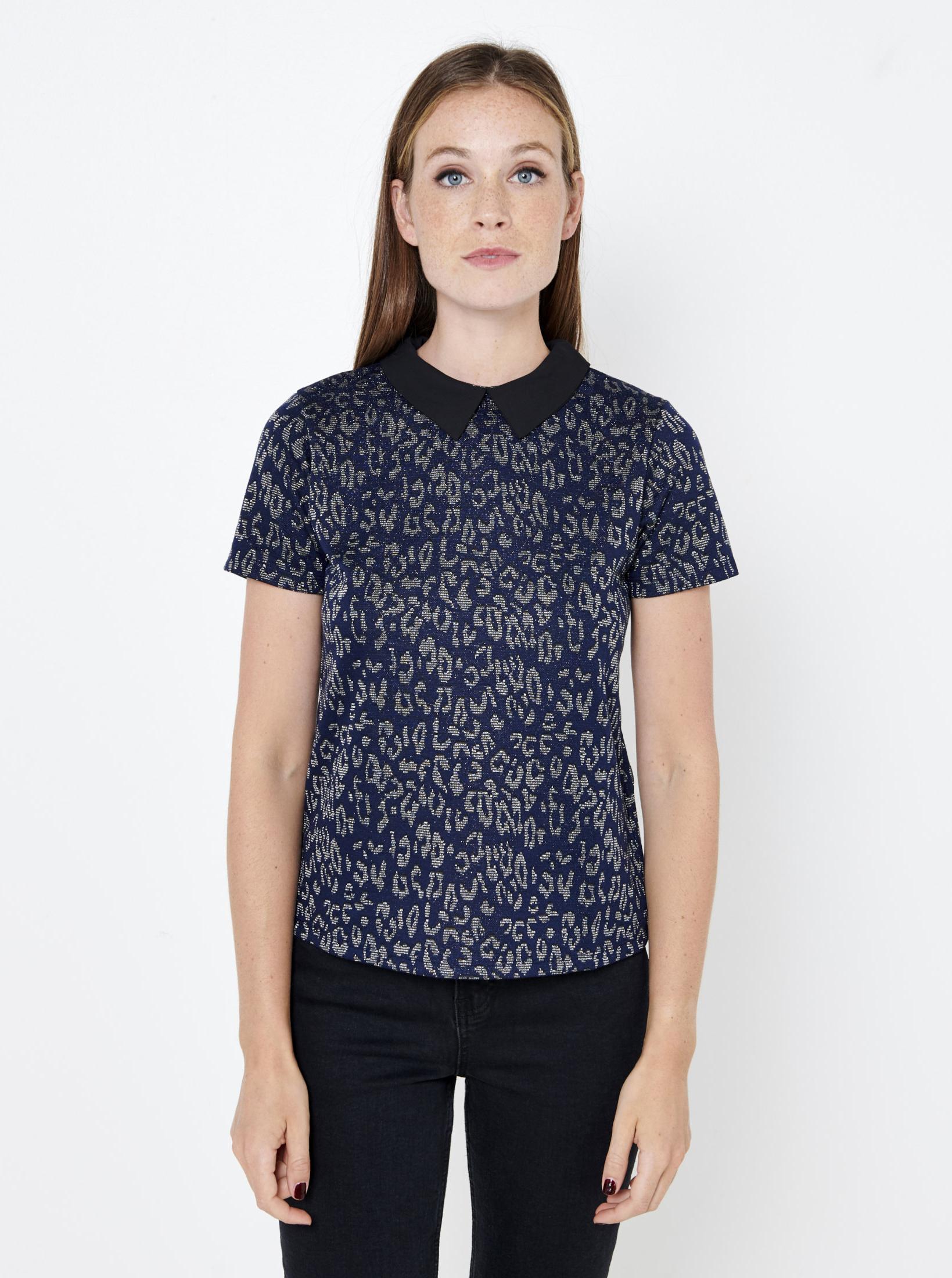 CAMAIEU синя блуза с шарка