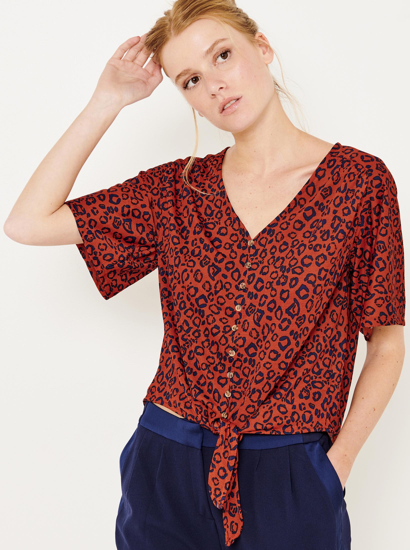 CAMAIEU оранжева блуза с шарка