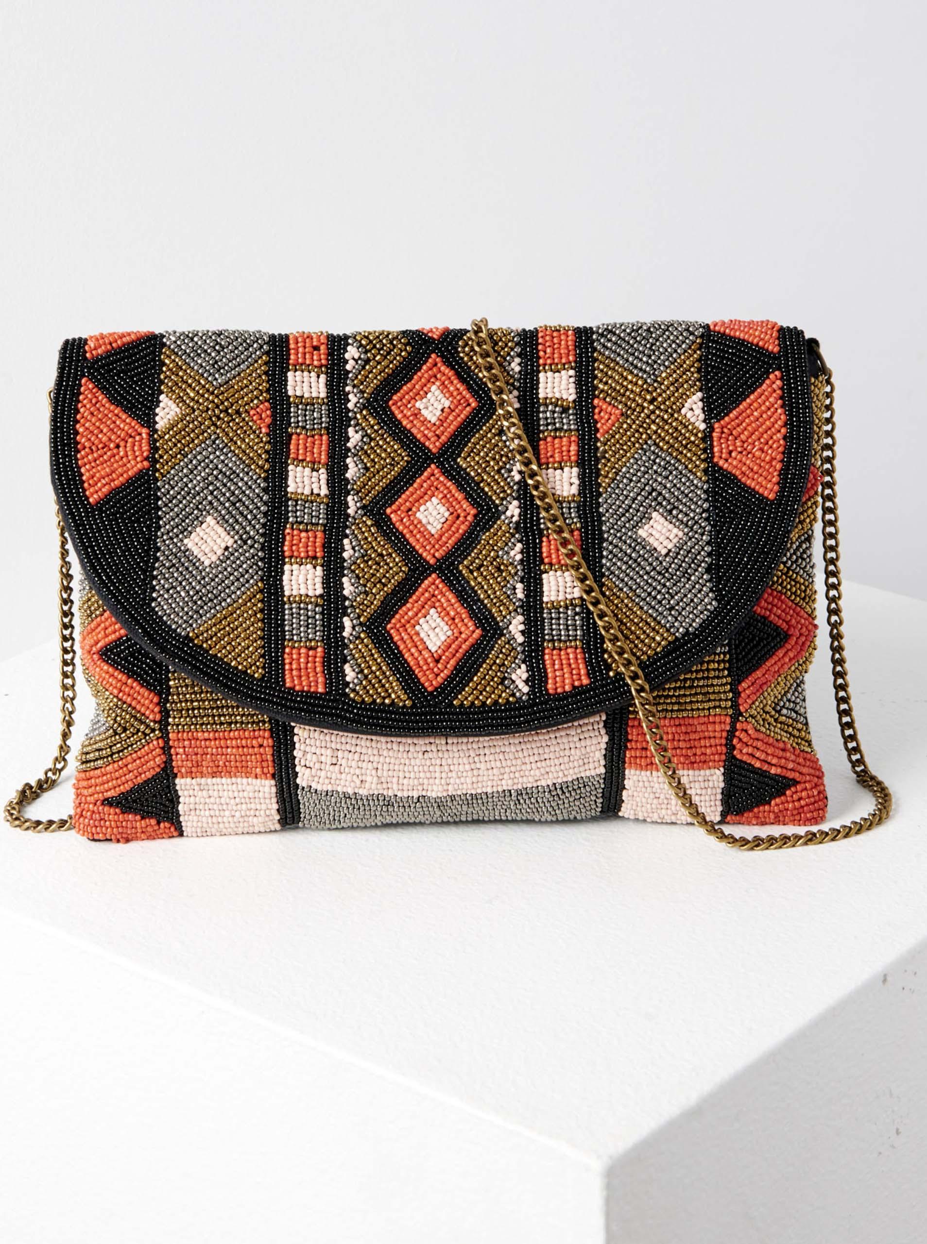 Сиво-оранжева дамска чанта на кръст с шарки с мъниста CAMAIEU