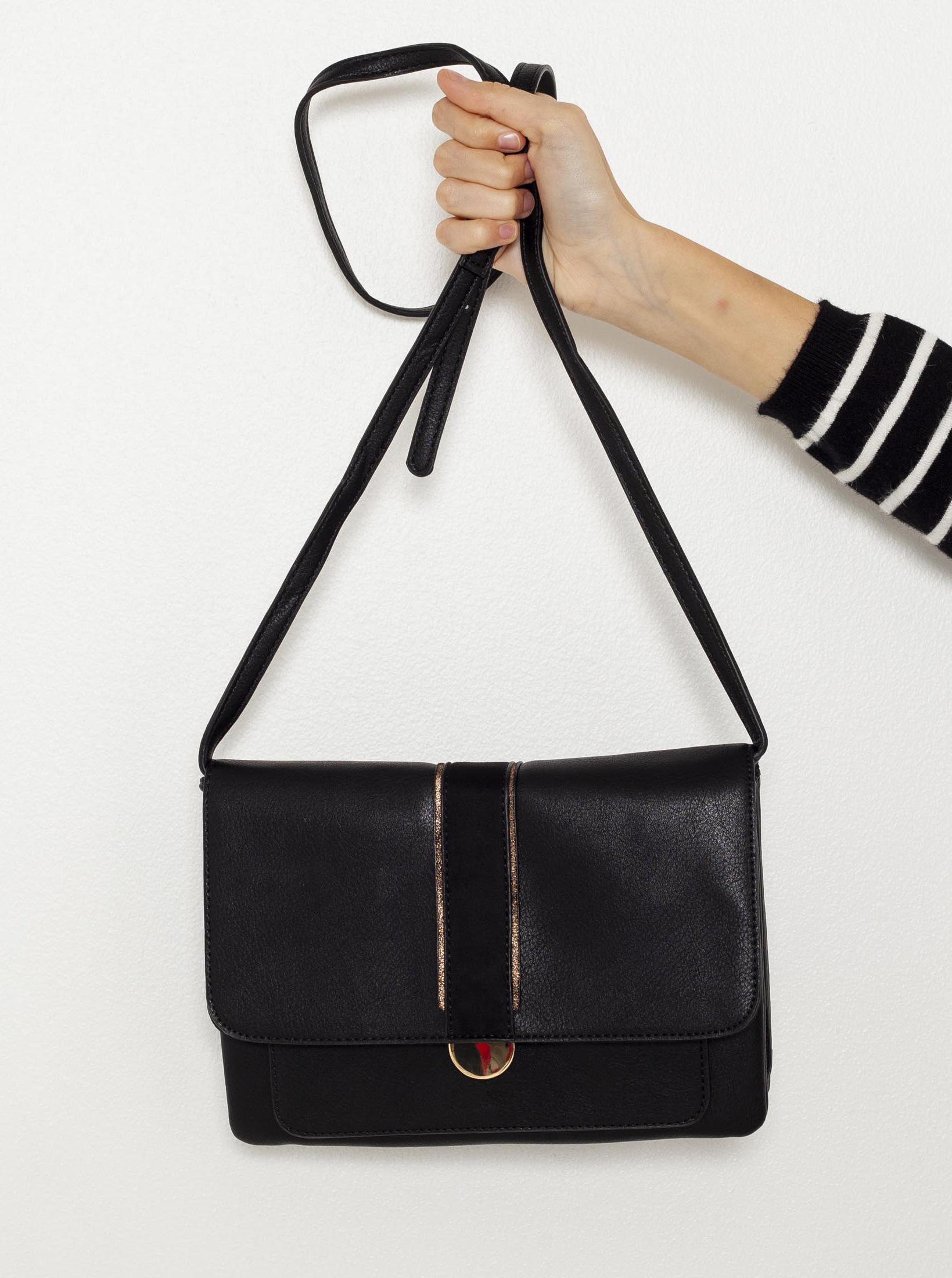 Черна дамска чанта през тялото CAMAIEU