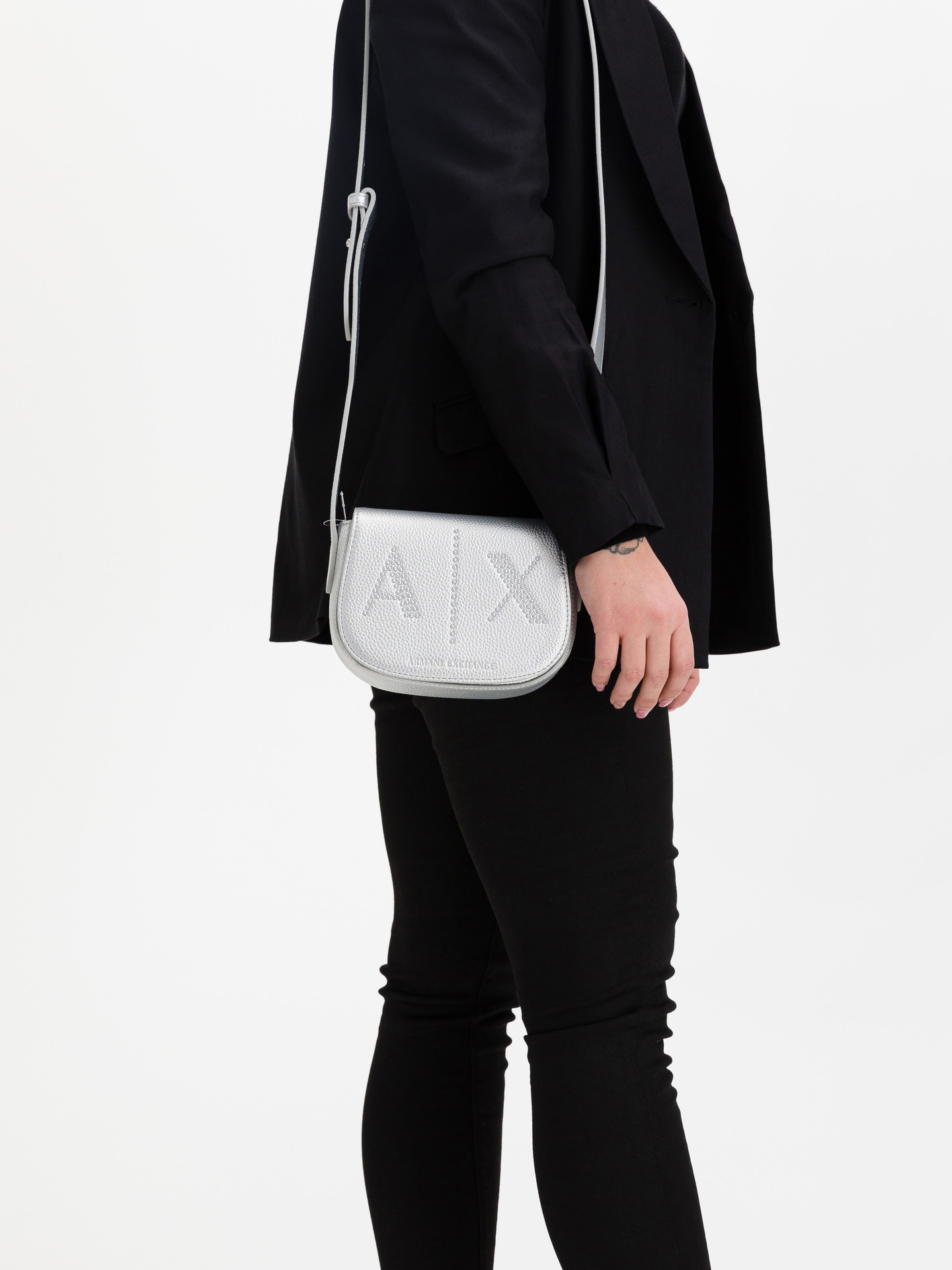 Armani Exchange сребърна дамска чанта