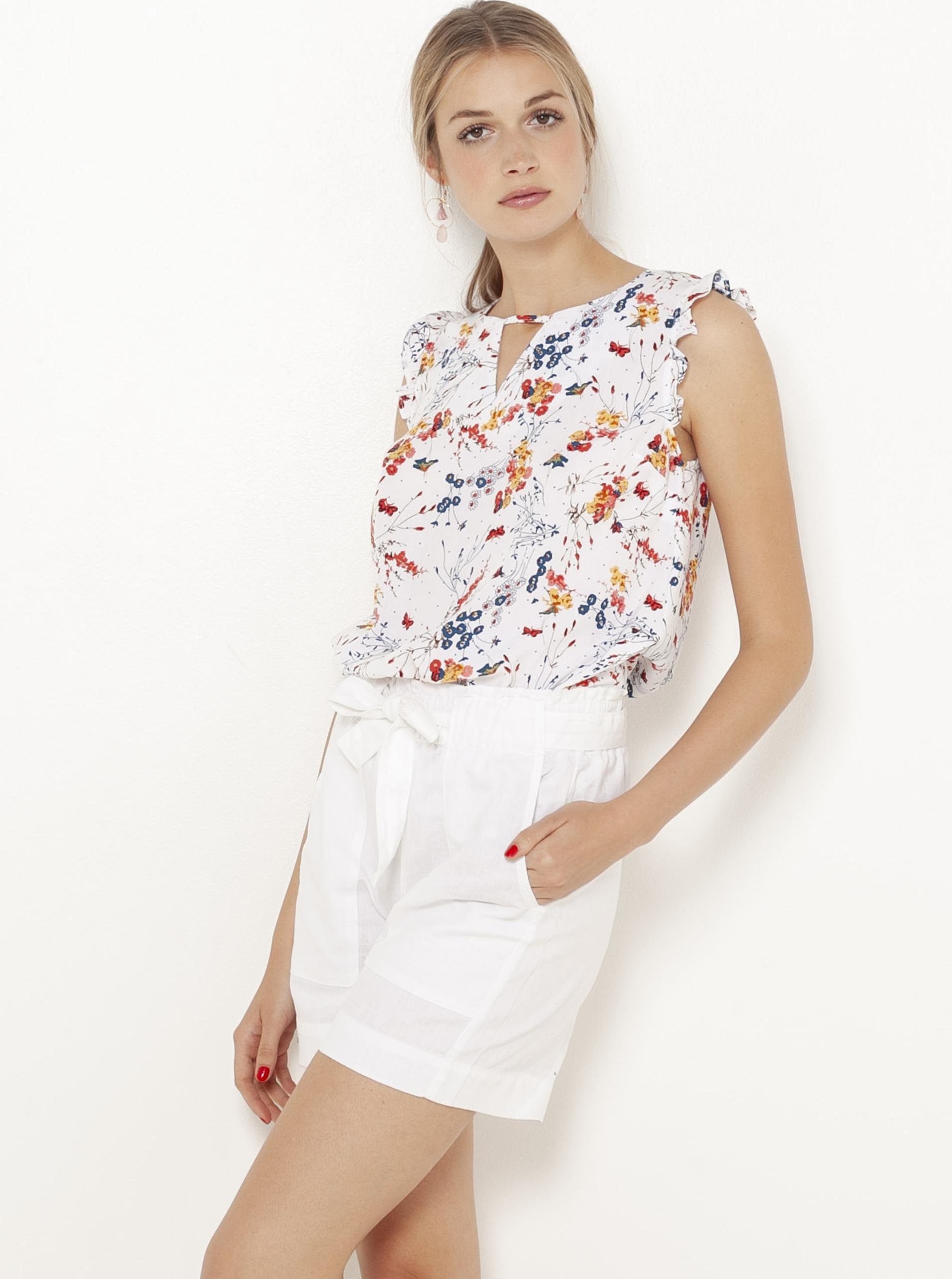 CAMAIEU бяла блуза с флорален мотив