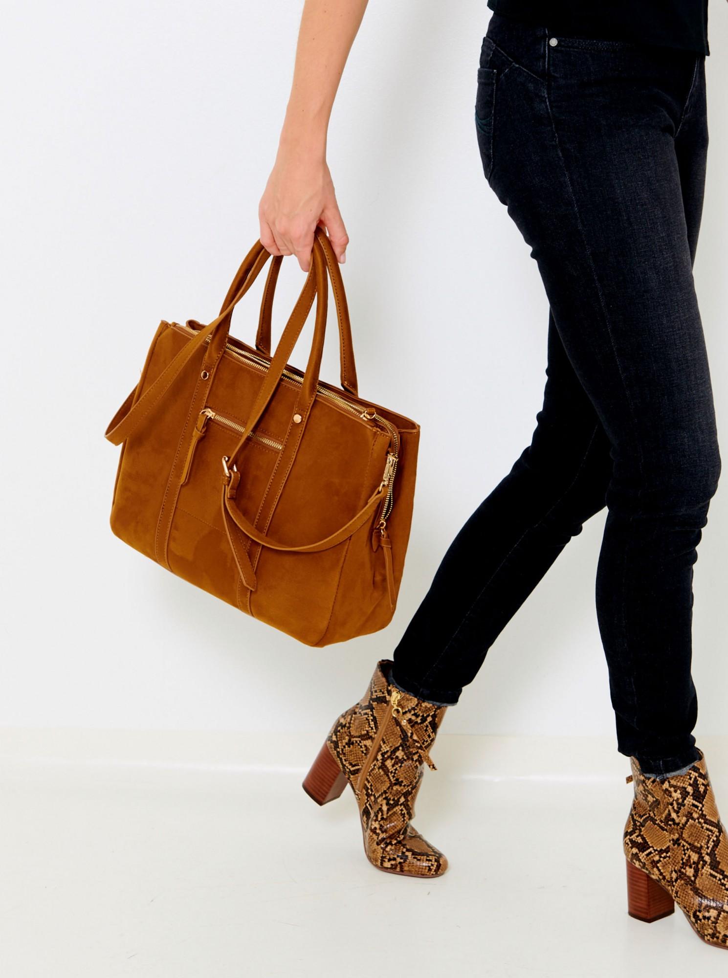 Горчична чанта от велур CAMAIEU