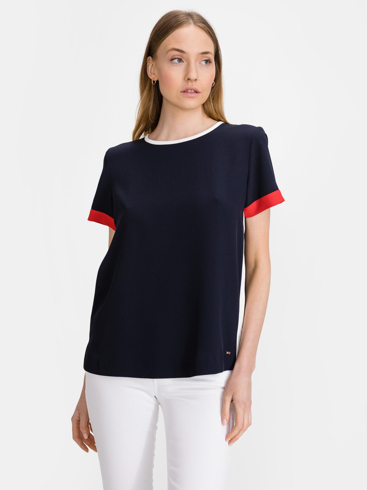 Tommy Hilfiger синя женски риза Crepe Tipped