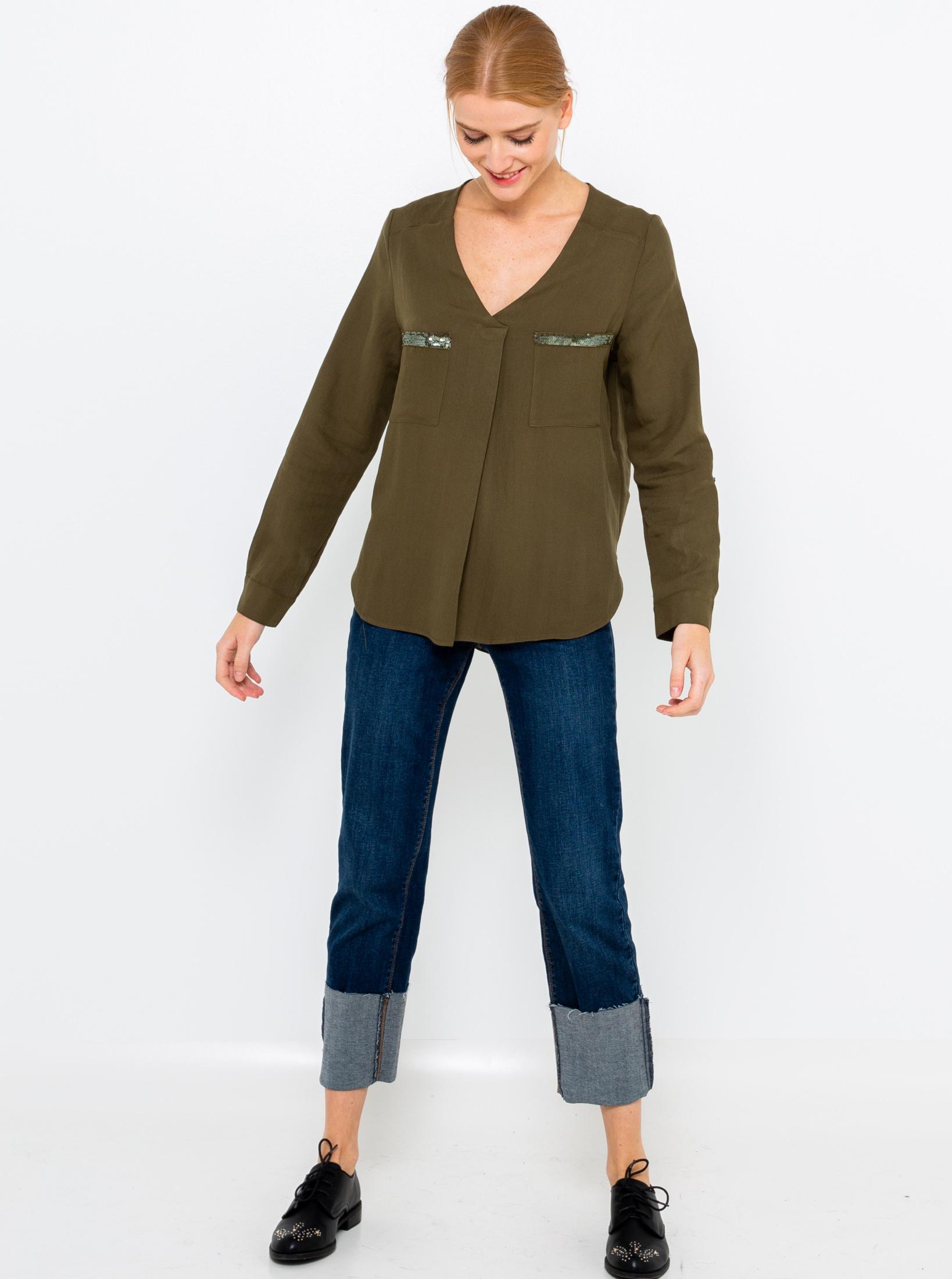 CAMAIEU Дамска блуза цвят khaki