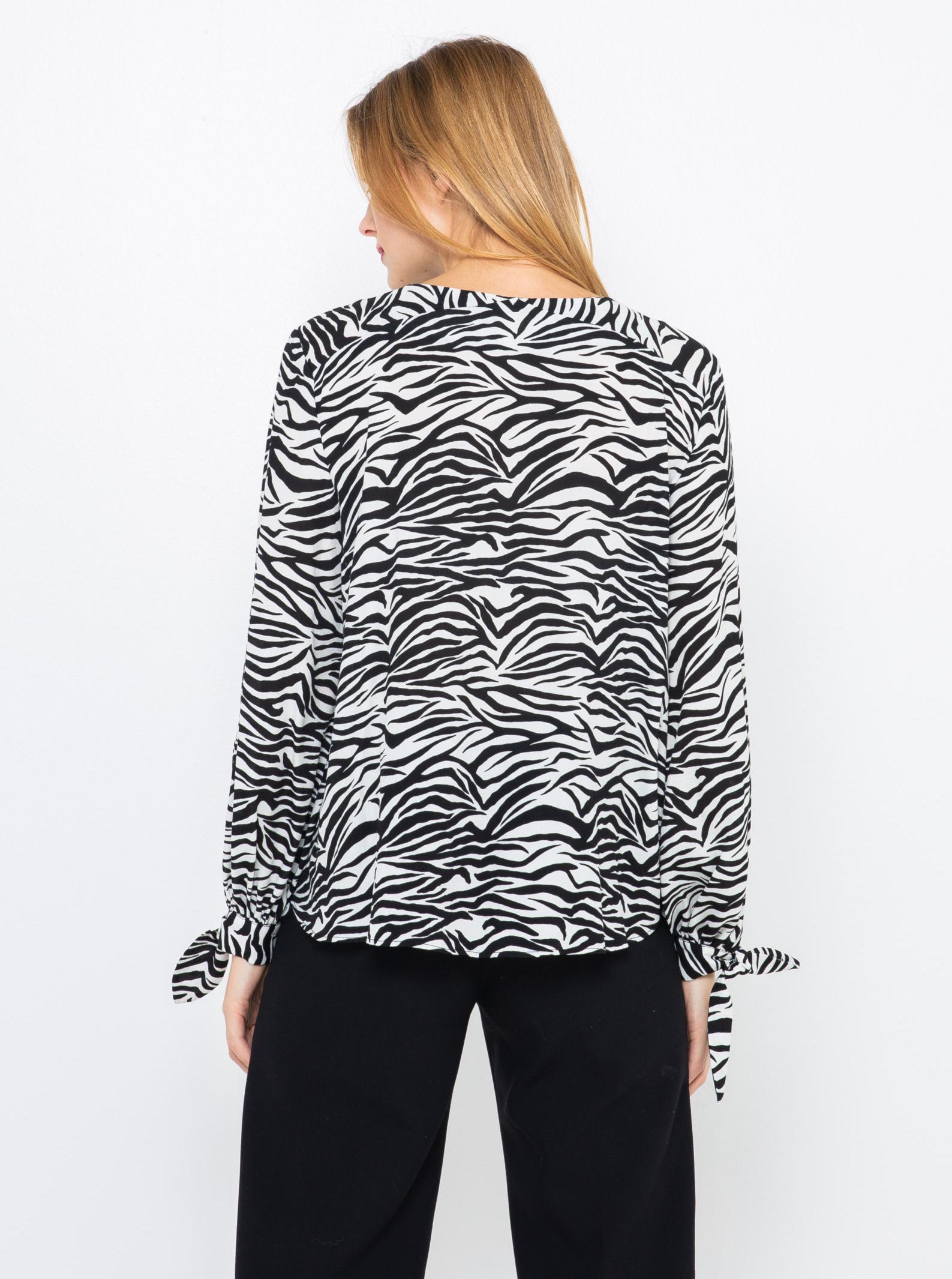 CAMAIEU черна блуза с животински модел