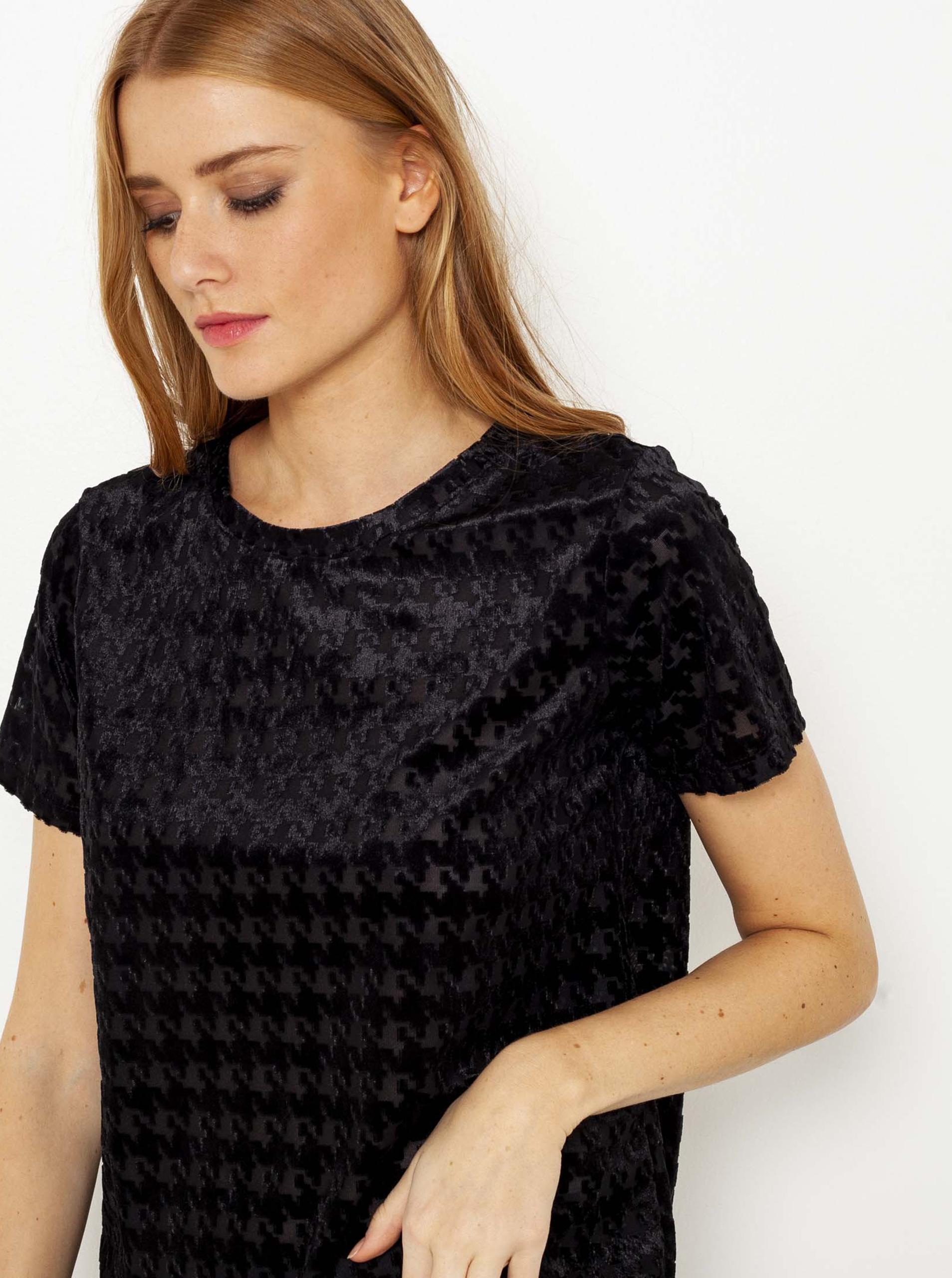 CAMAIEU черна блуза с шарка