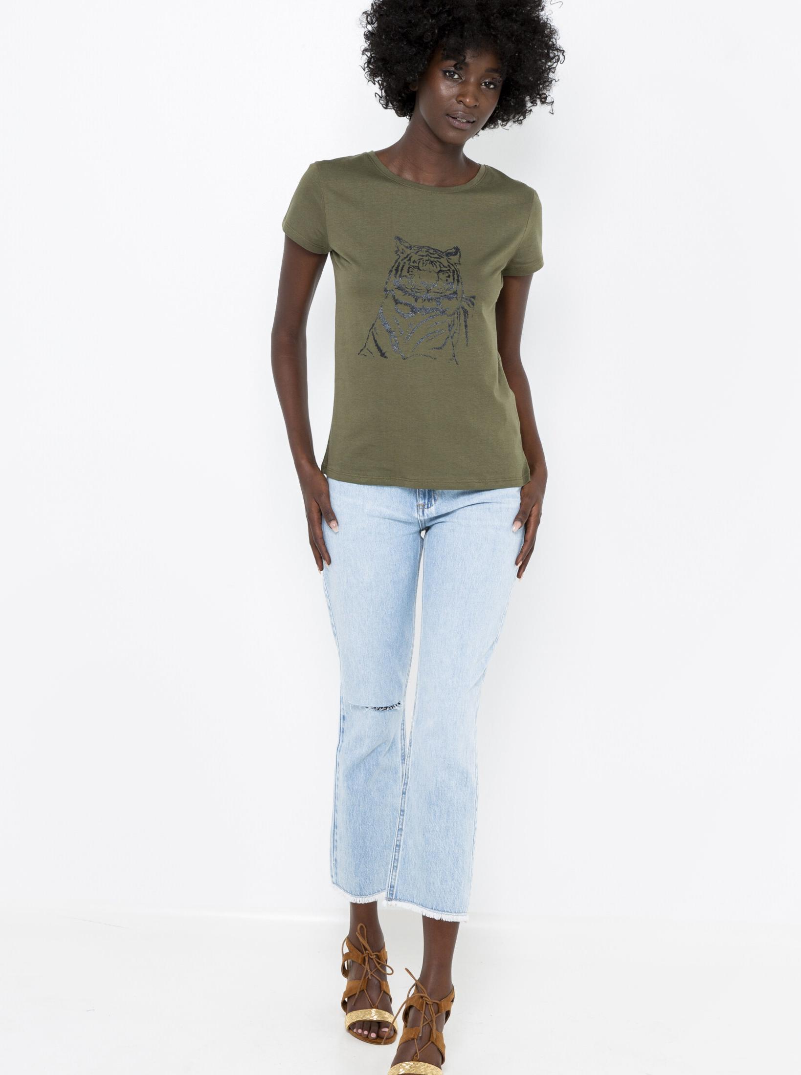 CAMAIEU Дамска тениска цвят khaki
