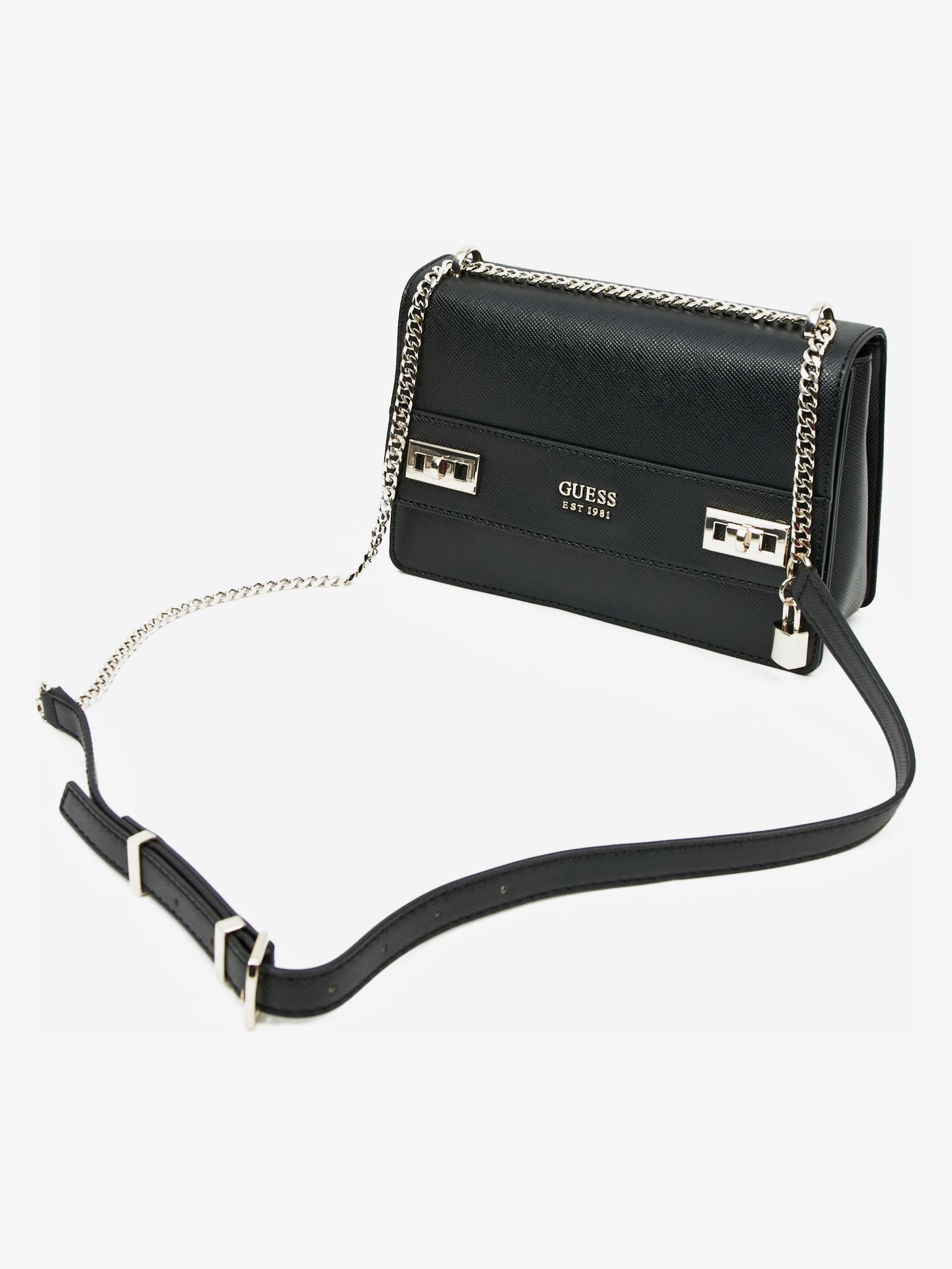 Guess черна crossbody дамска чанта Katey