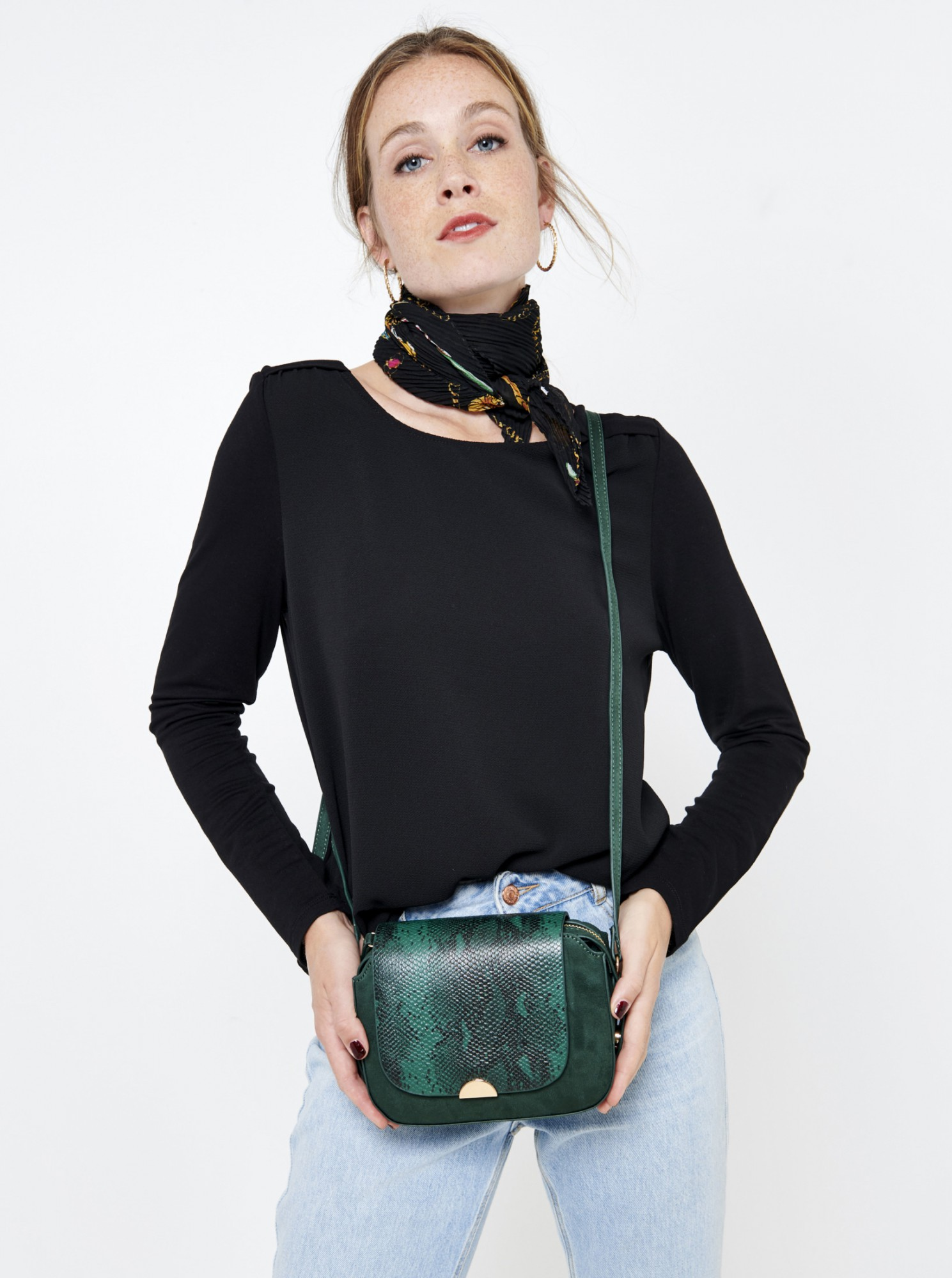 Керосинова чанта за кръстосано тяло със змийски модел CAMAIEU