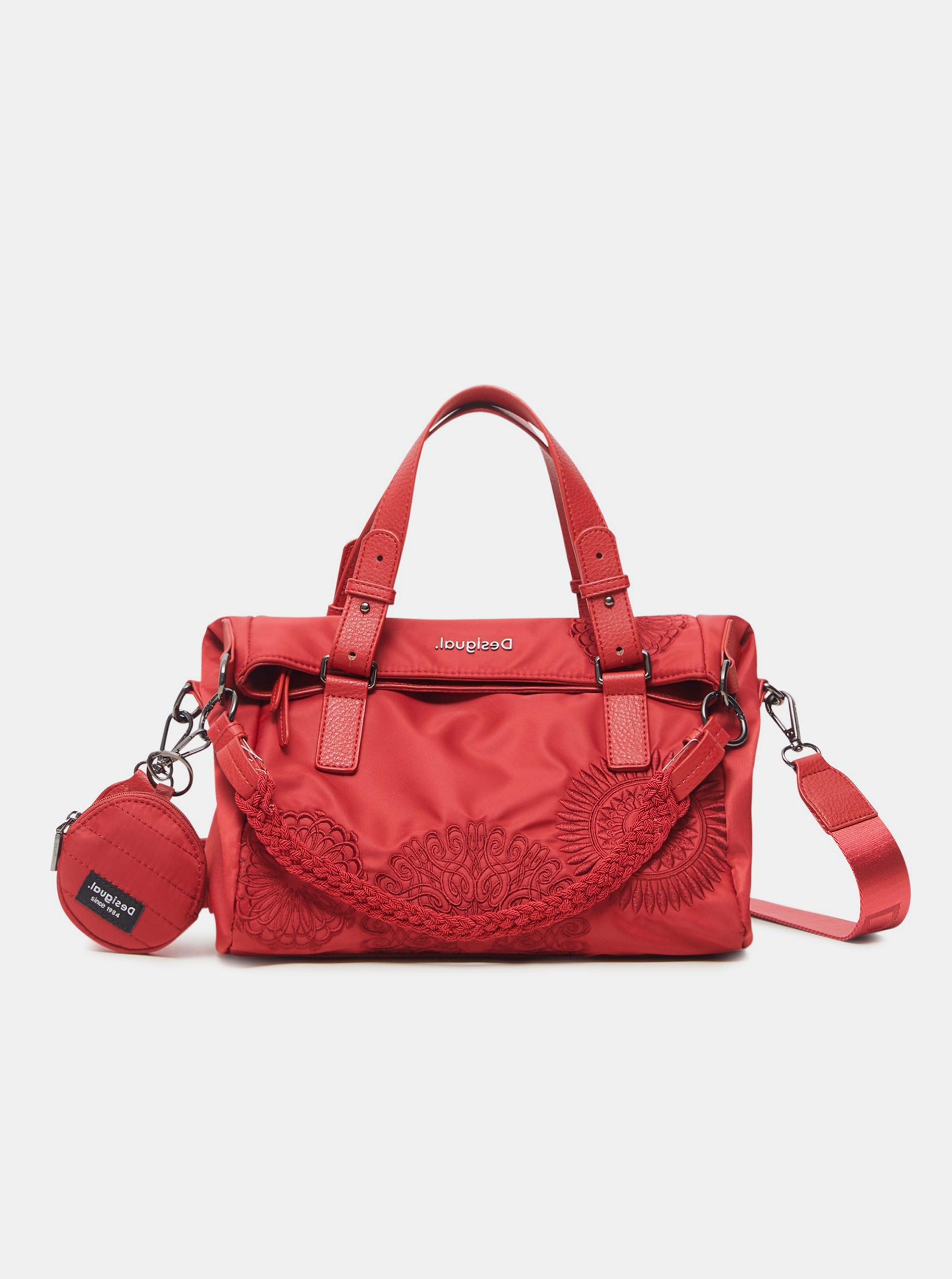 Червена дамска чанта с шарки Desigual Mandrala Loverty 2.0