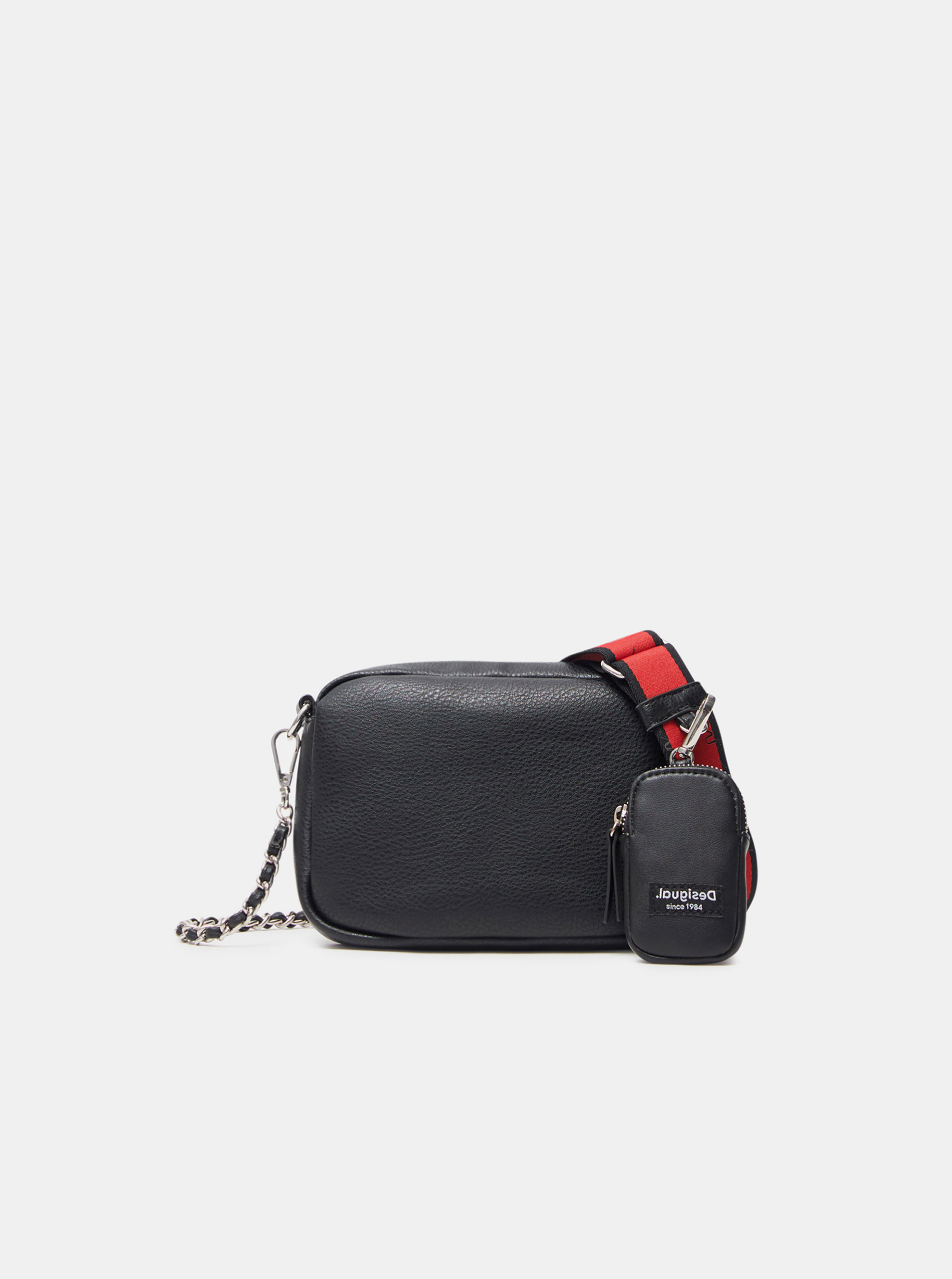 Черна дамска дамска чанта през кръста Desigual Embossed Half Cambridge Mini