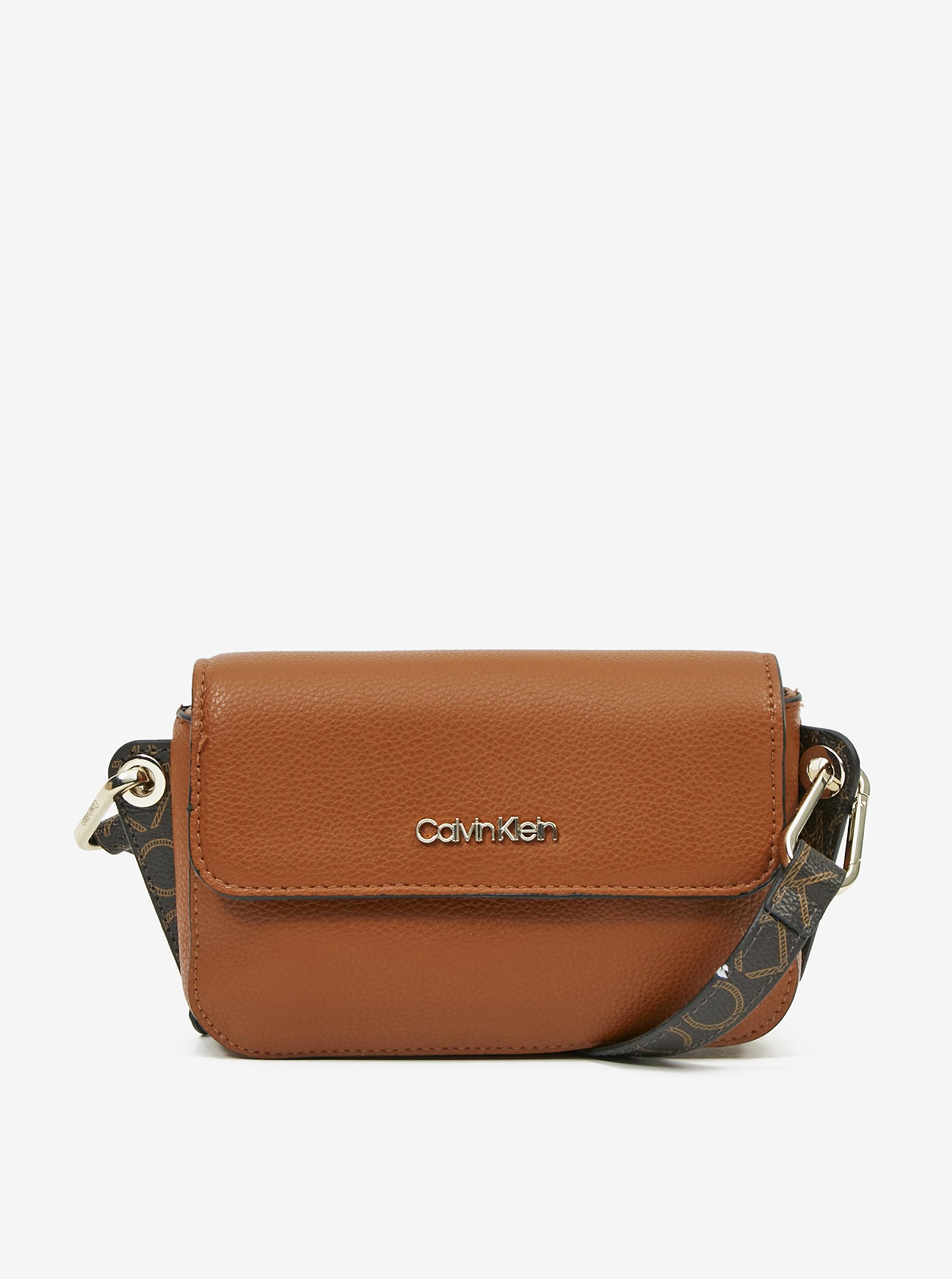 Calvin Klein кафява crossbody дамска чанта