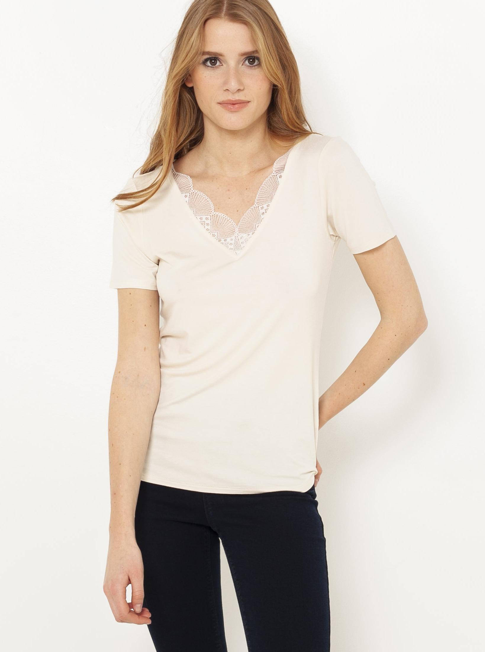 CAMAIEU Дамска тениска кремав цвят