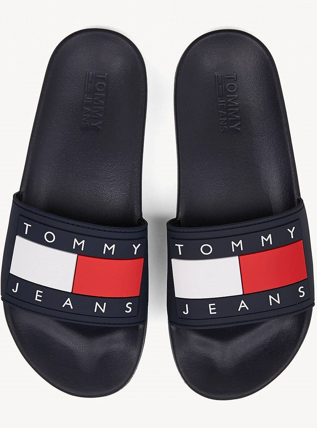 Tommy Hilfiger сини чехли Tommy Jeans Flag Pool Slide Black Iris