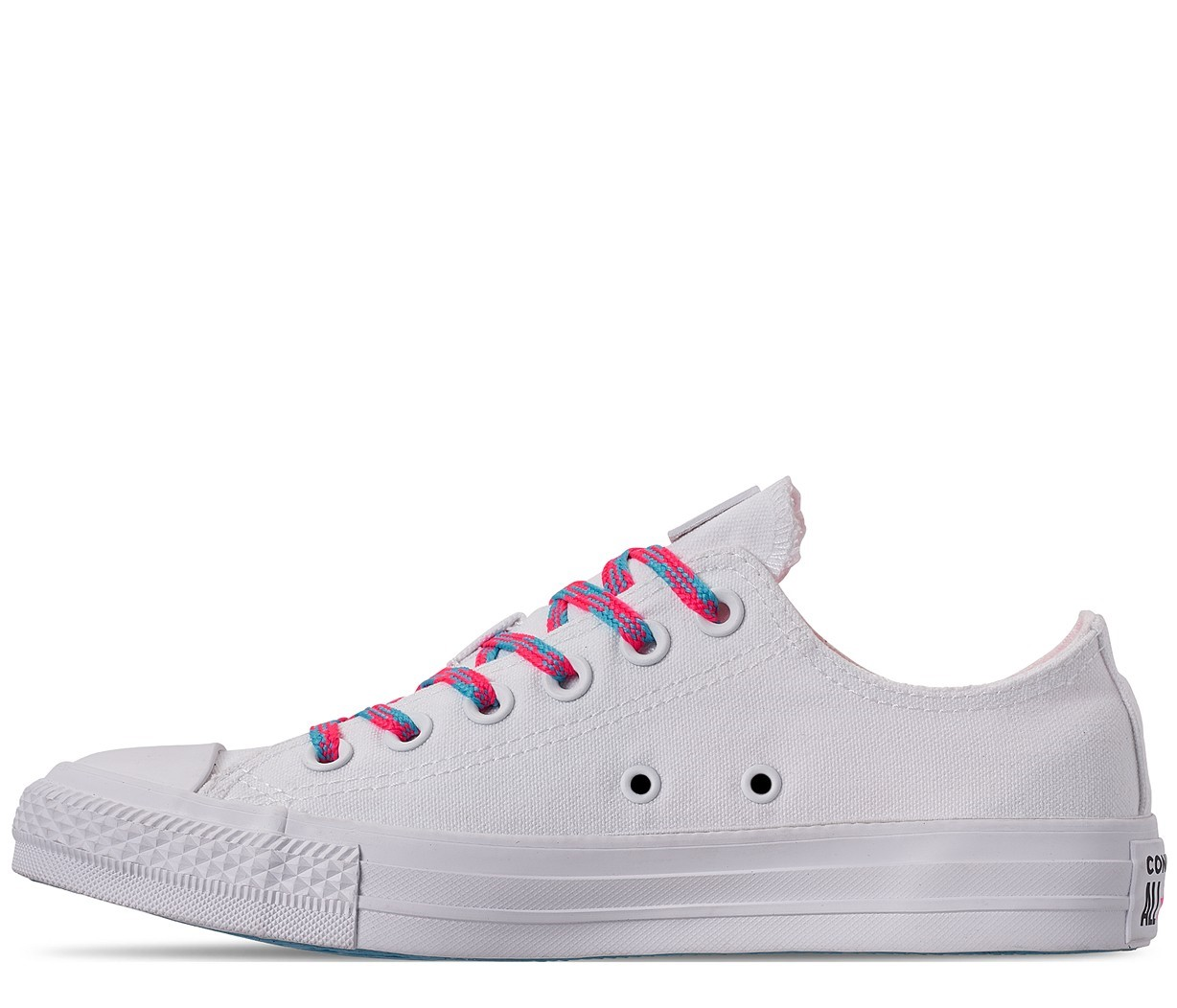 Converse бели кецове Chuck Taylor All Star OX White/Race Pink/Gnarly Blue