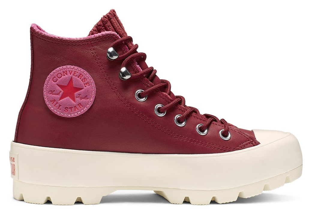 Converse винен / бордо кожа кецове Chuck Taylor All Star Lugged Winter Back Alley Brick/Habanero Red