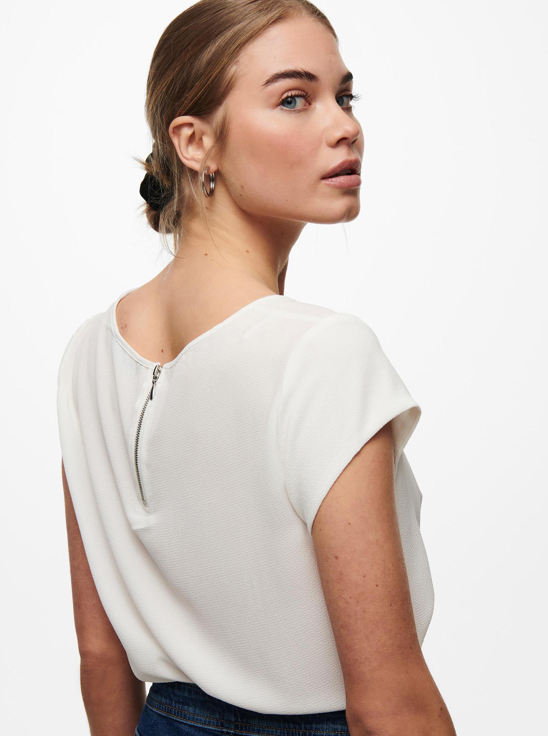 Бяла блуза с цип в задната част на САМО Vic