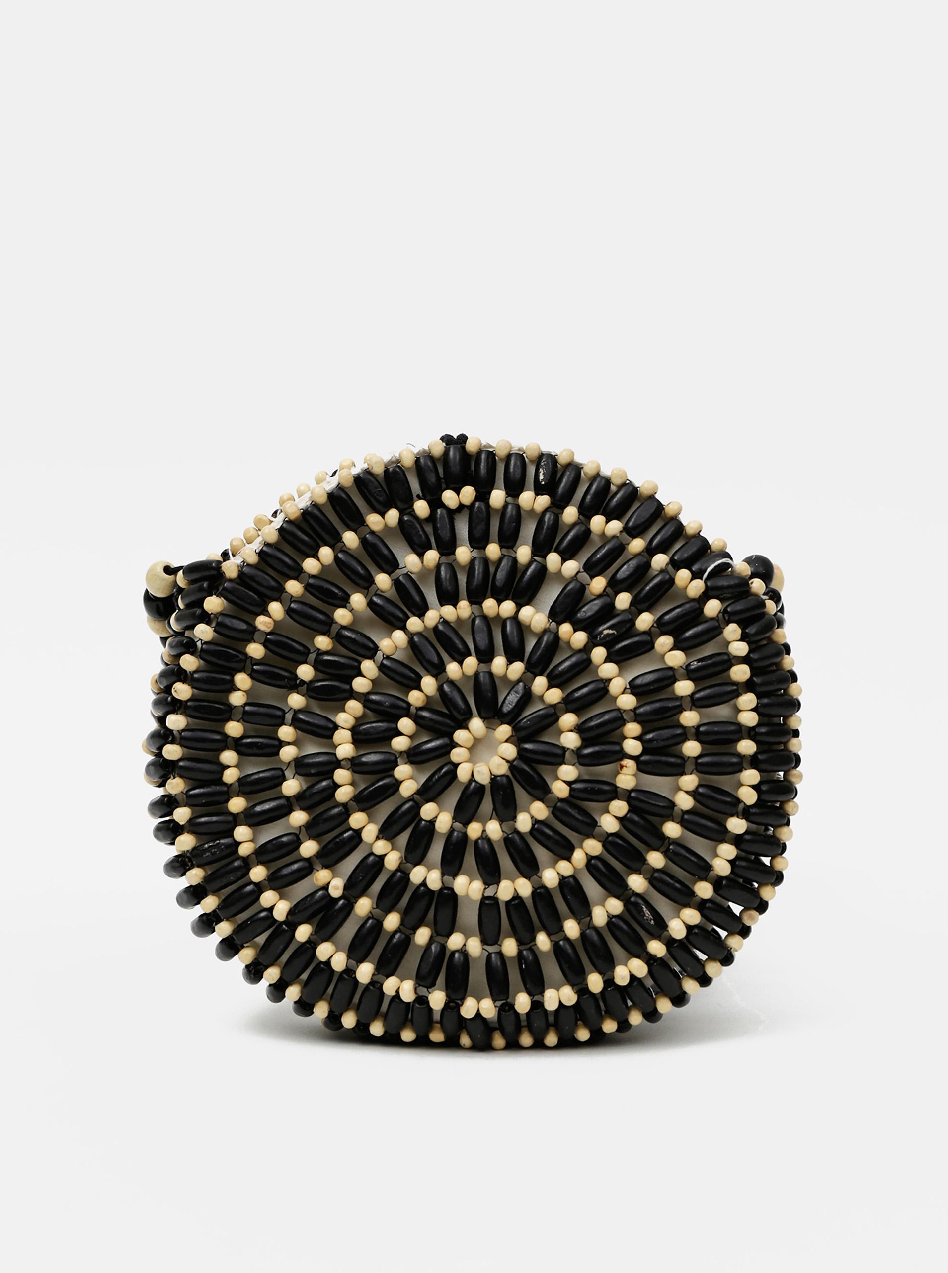 Черно-бежова дървена чанта с кръстосани части Piea