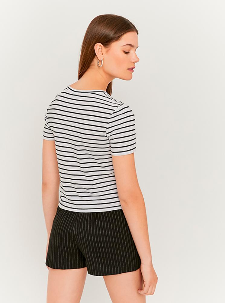 Черно-бяла раирана къса тениска TALLY WEiJL