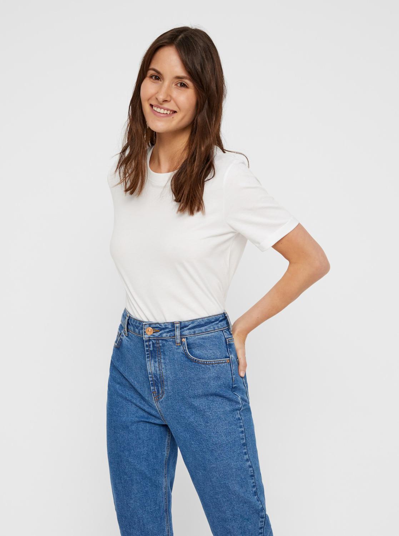 Бяла основна тениска Pieces Ria