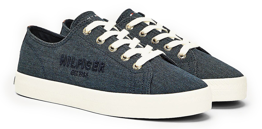 Tommy Hilfiger сини кецове Logo Embroidery Low Top Trainers