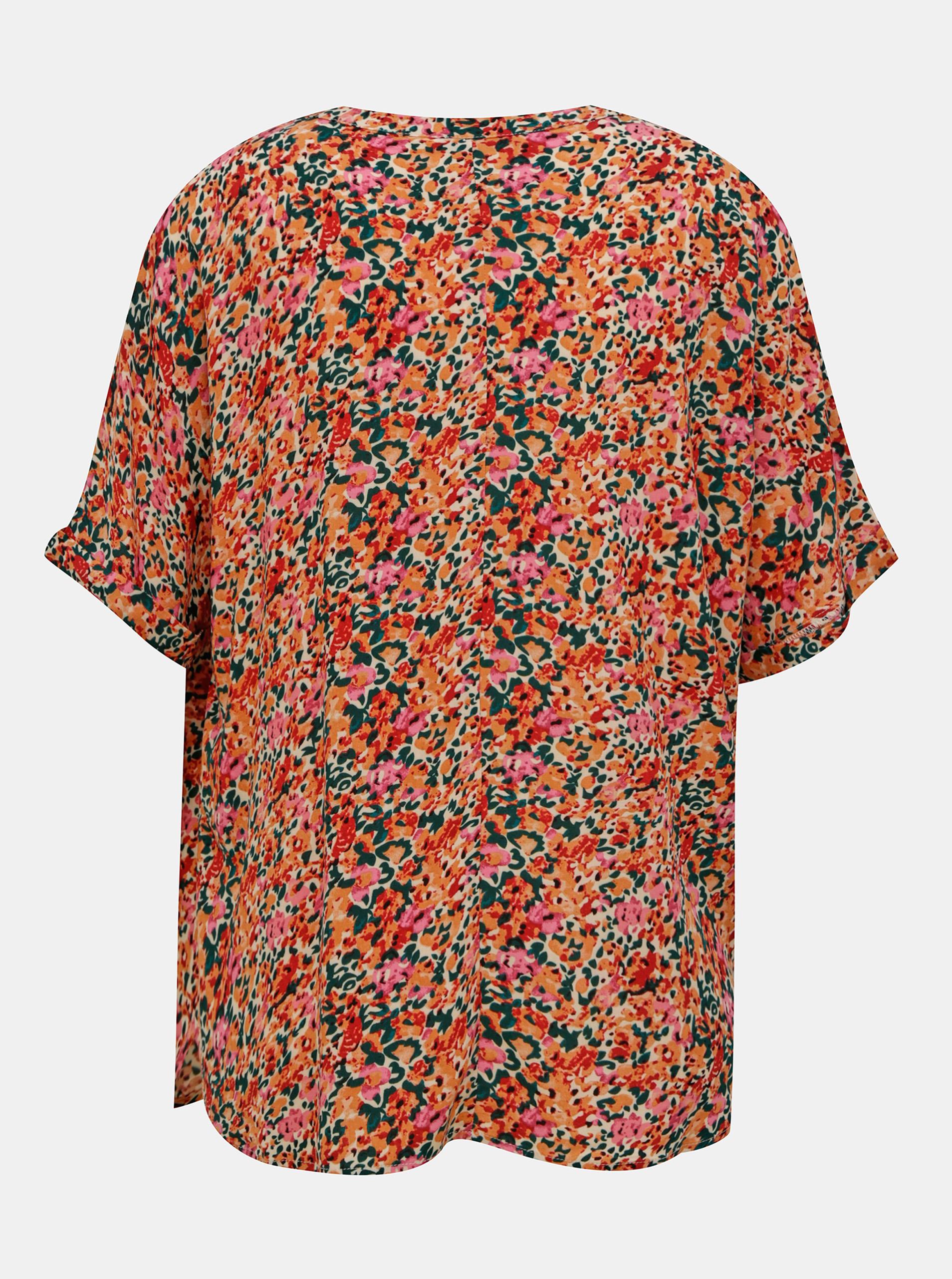 Блуза с розово-оранжева цветя САМО Нова