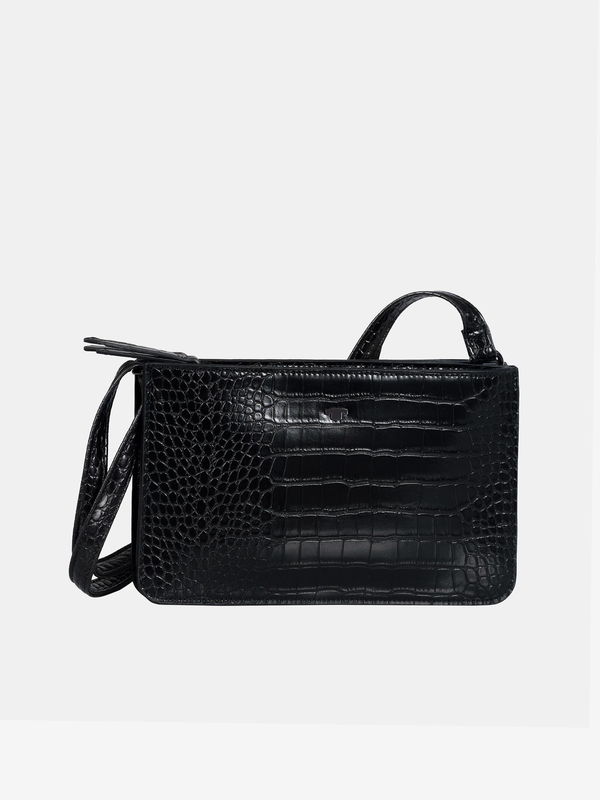 Черна чанта с кръстосано тяло с крокодилски модел от Tom Tailor