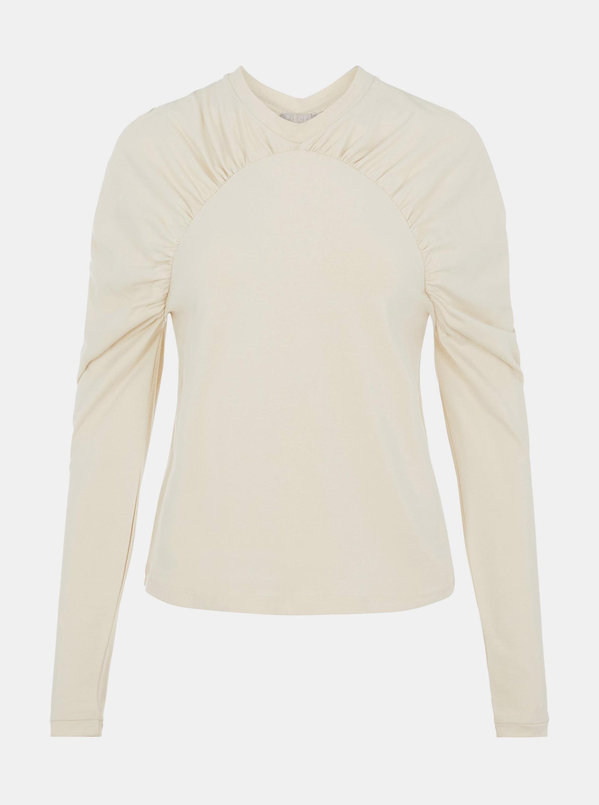 Pieces сметанови / кремови женски риза