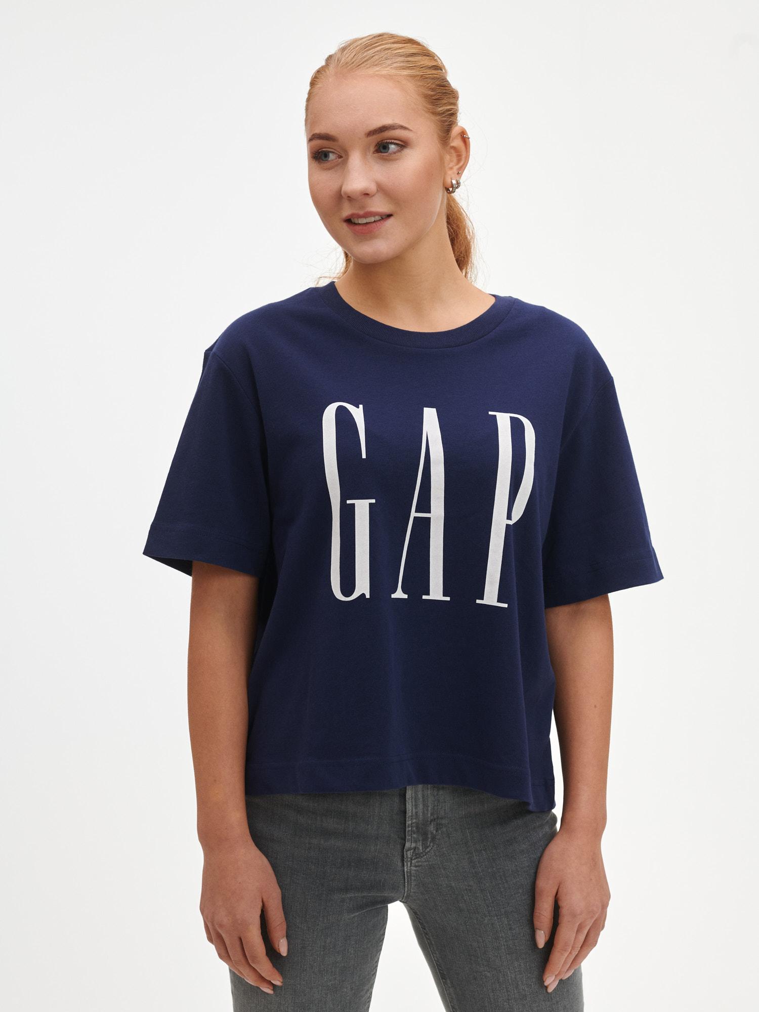 GAP синя риза Logo boxy ss